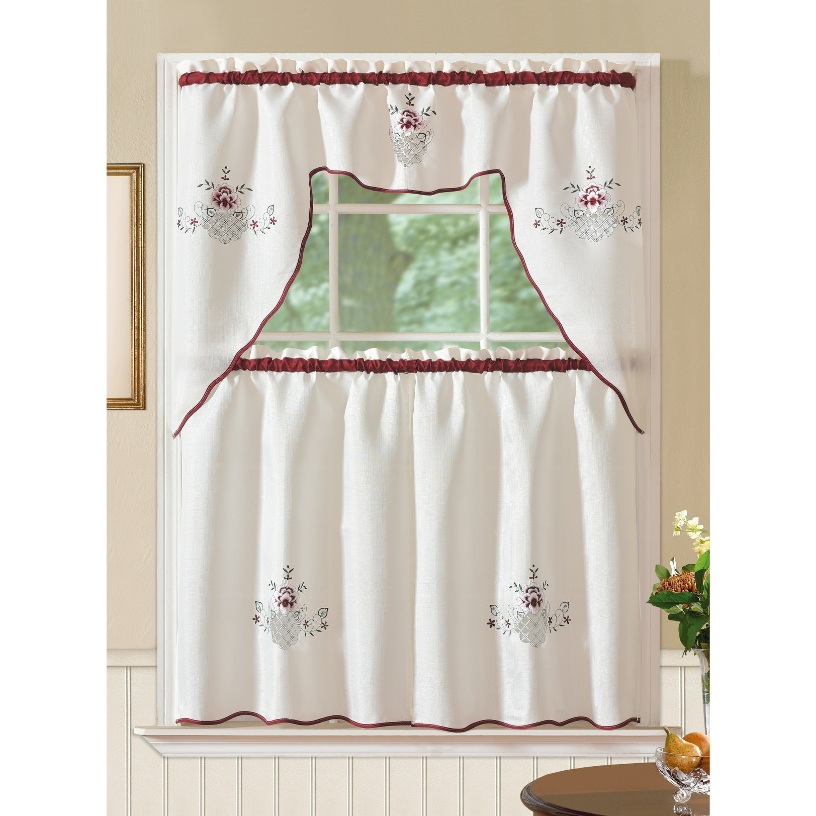 Recent Rt Designers Collection Imperial Flower Jacquard Tier And Valance Kitchen  Curtain Set With Regard To Grace Cinnabar 5 Piece Curtain Tier And Swag Sets (Gallery 10 of 20)