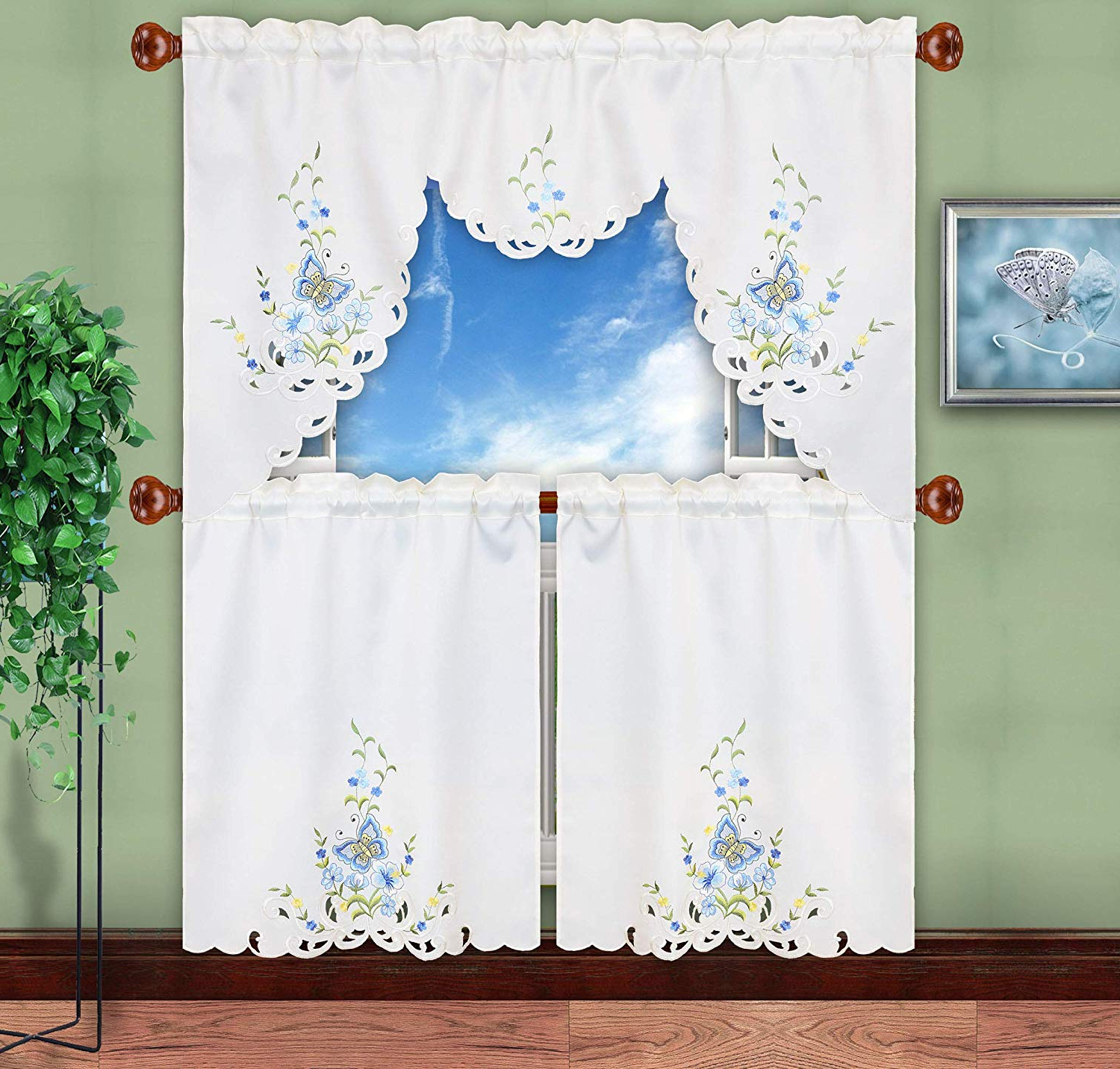 Recent Simhomsen Embroidered Butterfly Kitchen Curtain Swag And Tiers Set For  Spring And Summer, Window Treatment, Decorations (Blue) Within Cotton Blend Ivy Floral Tier Curtain And Swag Sets (Gallery 16 of 20)