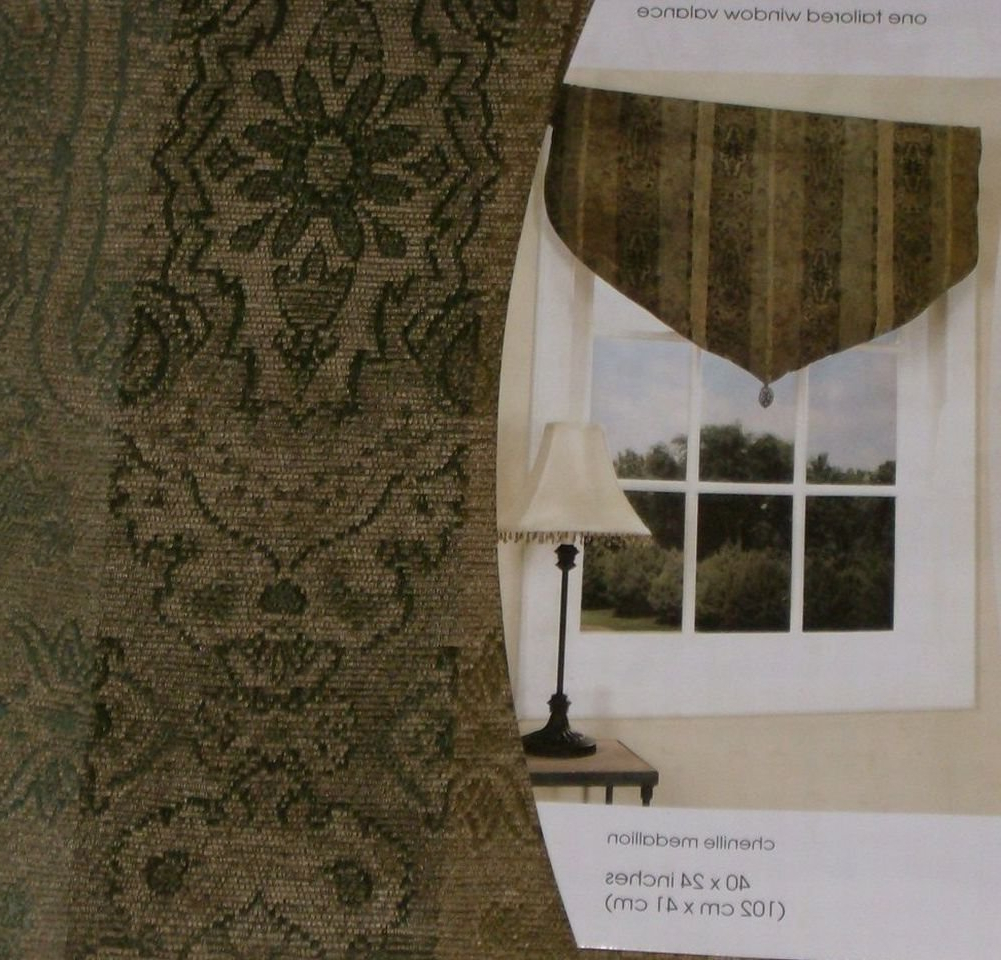 Recent Tailored Toppers With Valances With Amazon: Home Tailored Chenille Medallion Window Valance (View 17 of 20)