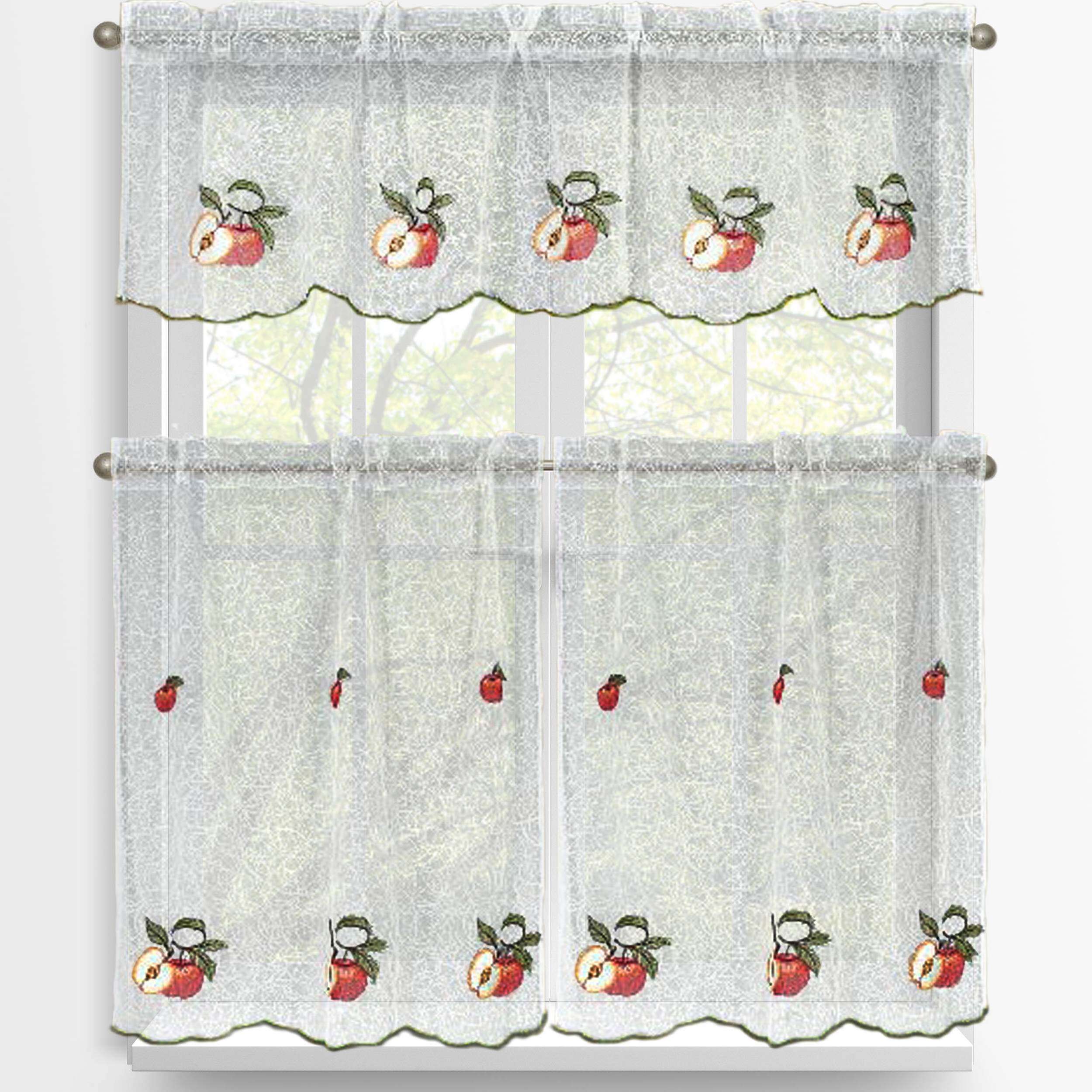 Red Apples 3 Piece Embroidered Kitchen Tier And Valance Set Within Most Popular Delicious Apples Kitchen Curtain Tier And Valance Sets (View 18 of 20)