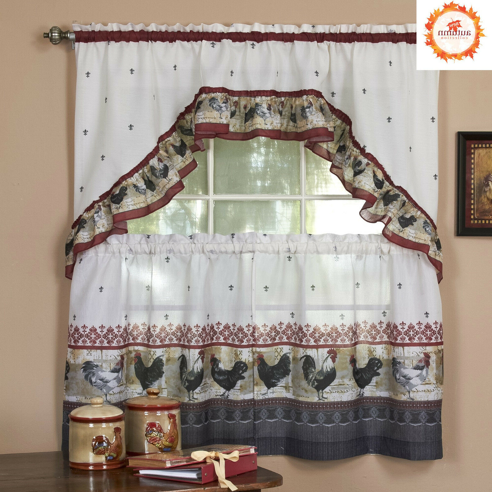 Red Delicious Apple 3 Piece Curtain Tiers Intended For Well Known Rooster Complete Kitchen Curtain Tier And Swag Set – Assorted Sizes (View 5 of 20)