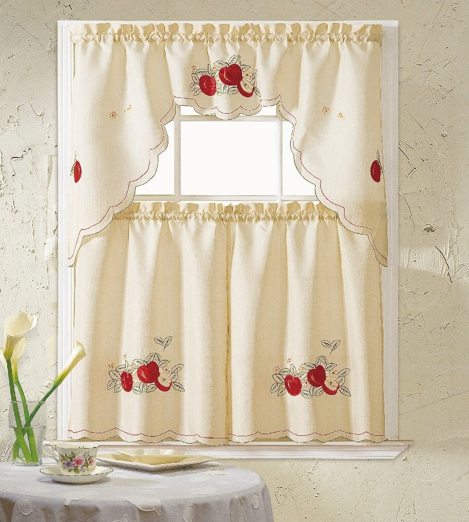 Red Delicious Apple 3 Piece Curtain Tiers Pertaining To Famous Apples 3 Piece Kitchen Curtain Set (View 19 of 20)