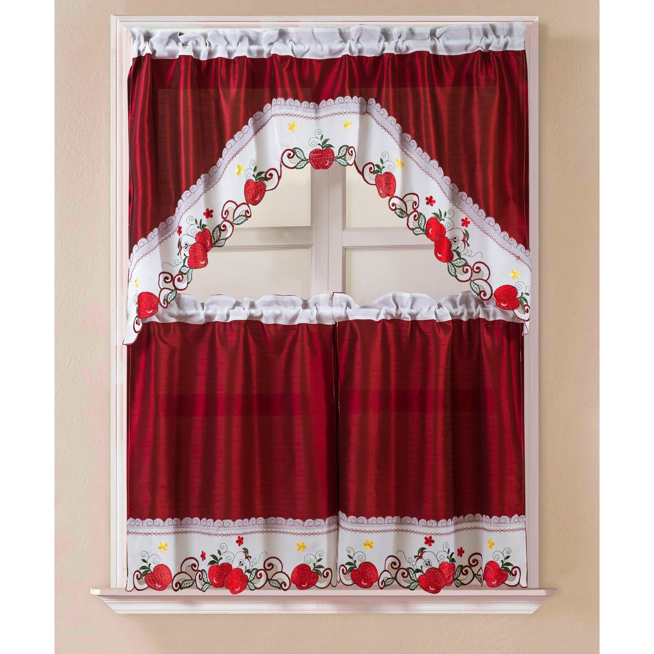 Red Delicious Apple 3 Piece Curtain Tiers With Favorite Porch & Den Eastview Faux Silk 3 Piece Kitchen Curtain Set (Gallery 3 of 20)