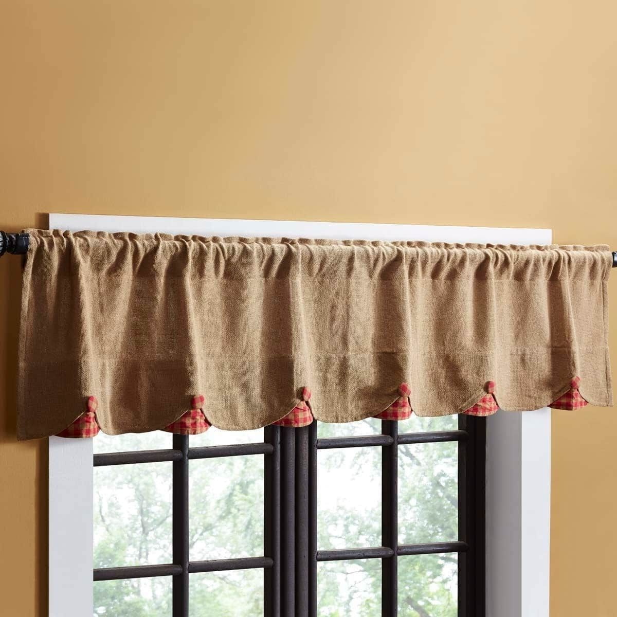 """Red Primitive Kitchen Curtains Throughout Most Current Vhc Brands Burlap W/ Check Scalloped Valance (Red – 16"""" X  (View 12 of 20)"""