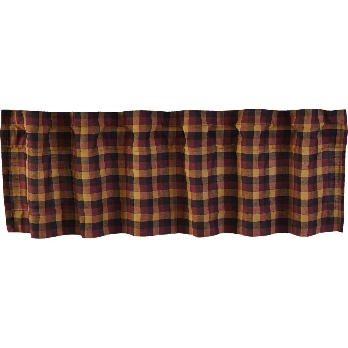 Red Primitive Kitchen Curtains Vhc Heritage Farms Valance Rod Pocket Cotton  Plaid – 16X72 Intended For Well Liked Red Primitive Kitchen Curtains (Gallery 13 of 20)