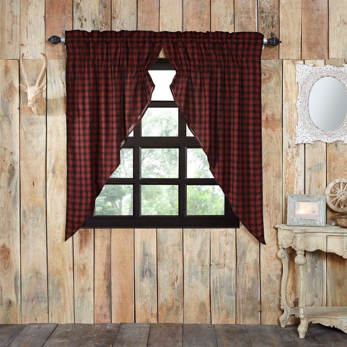 Red Rustic Curtains Vhc Cumberland Prairie Panel Pair Rod Pocket Cotton Buffalo Check – Prairie Panel 63x36 Pertaining To Latest Cumberland Tier Pair Rod Pocket Cotton Buffalo Check Kitchen Curtains (View 2 of 20)