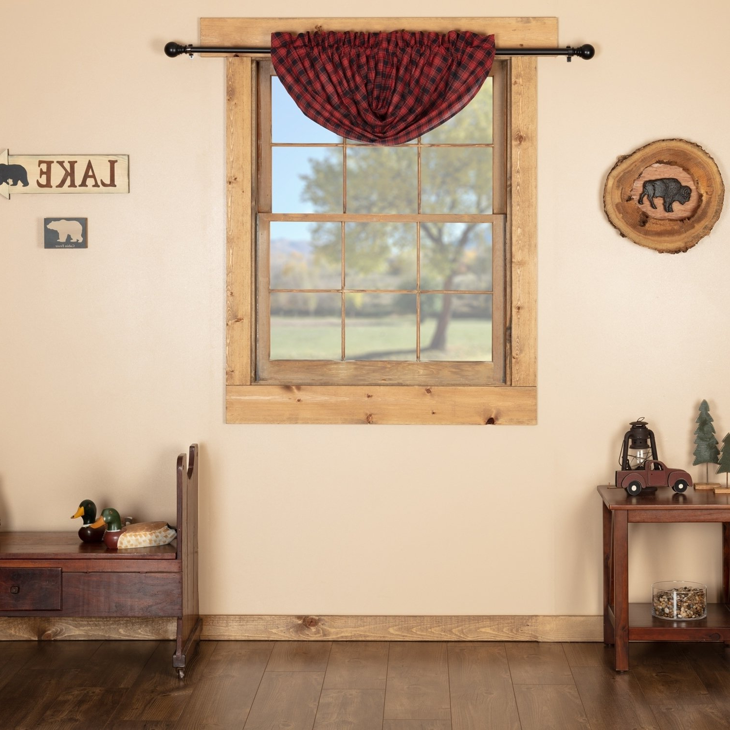 Red Rustic Kitchen Curtains In Current Red Rustic Kitchen Curtains Shasta Cabin Balloon Valance Rod (View 4 of 20)