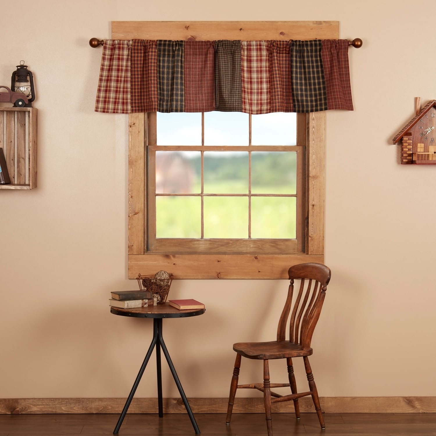 Red Rustic Kitchen Curtains Vhc Beckham Patchwork Valance Rod Pocket Cotton For Famous Red Rustic Kitchen Curtains (Gallery 1 of 20)