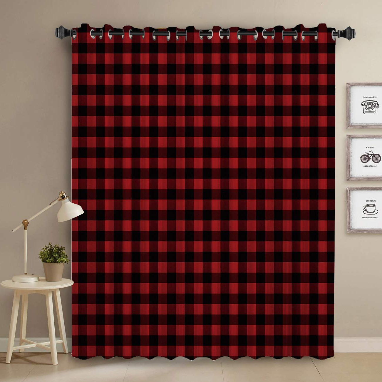 Red Rustic Kitchen Curtains With Most Current Amazon: Anzona Rustic Red Black Buffalo Check Plaid Grid (View 8 of 20)