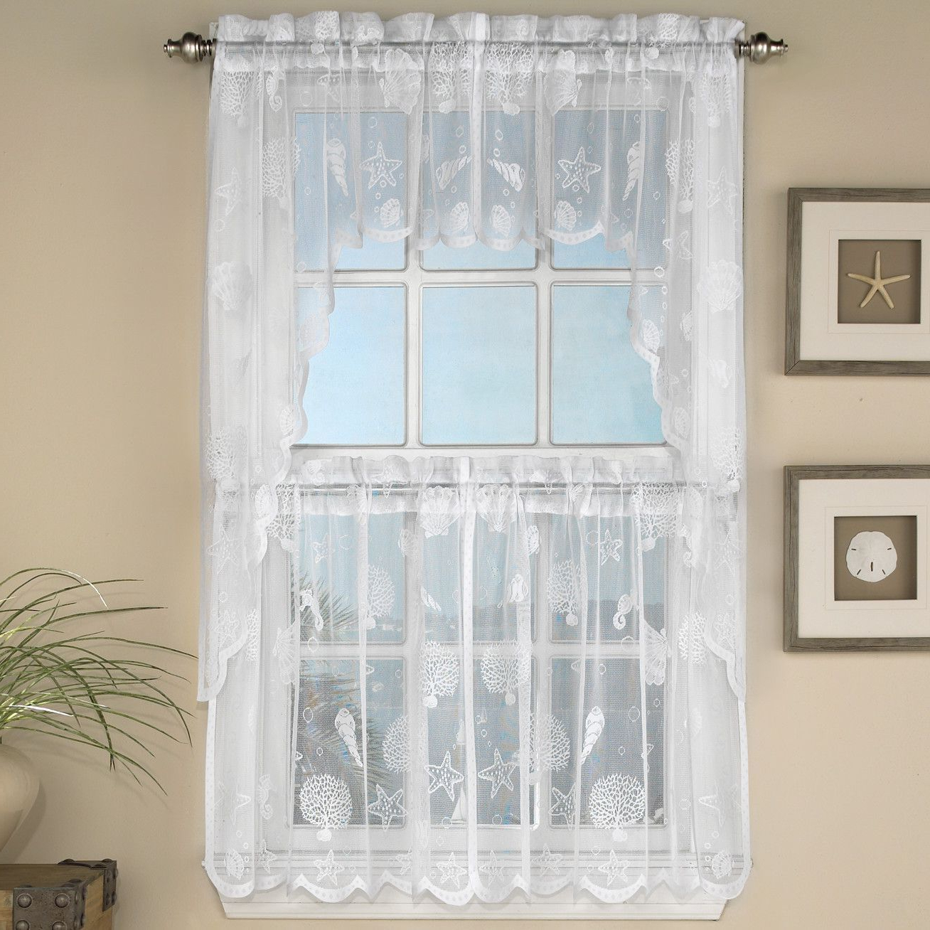 Reef Marine Semi Sheer Rod Pocket Kitchen Curtain Panels Within Most Recently Released Floral Lace Rod Pocket Kitchen Curtain Valance And Tiers Sets (View 13 of 20)