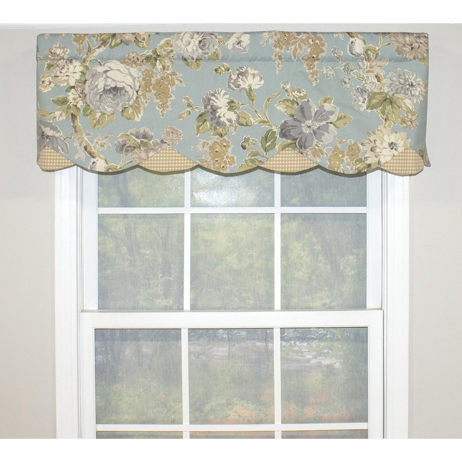 "Rlf Home Floral Bouquet Petticoat 50"" Window Valance With Preferred Floral Pattern Window Valances (View 19 of 20)"
