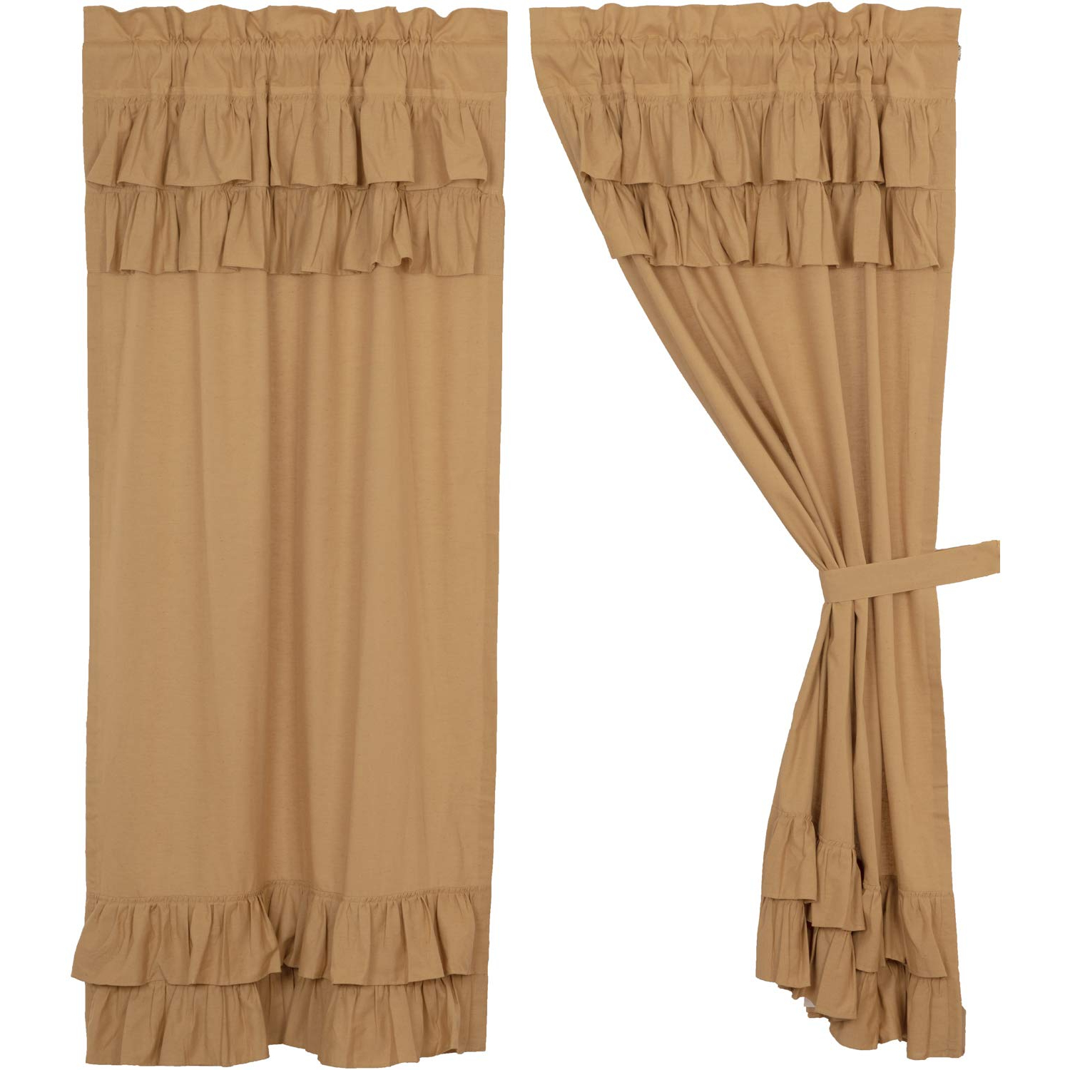 Rod Pocket Cotton Linen Blend Solid Color Flax Kitchen Curtains With Regard To Best And Newest Amazon: Vhc Brands Farmhouse Curtains Simple Life Rod (View 10 of 20)