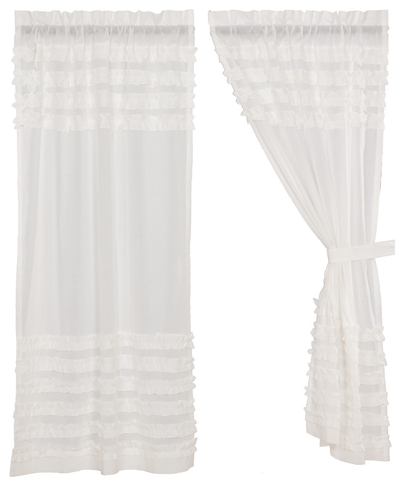 Rod Pocket Cotton Solid Color Ruched Ruffle Kitchen Curtains For Most Current White Farmhouse Curtains Simplicity Cambric White Ruffled Sheer Petticoat Panel (View 18 of 20)