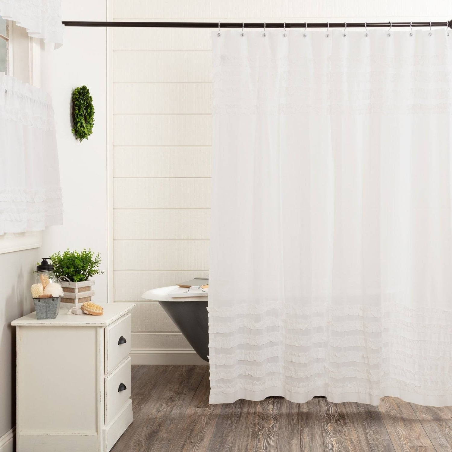 Rod Pocket Cotton Solid Color Ruched Ruffle Kitchen Curtains For Most Recent Wonderful White Cotton Ruffle Shower Curtain Bathrooms (View 12 of 20)