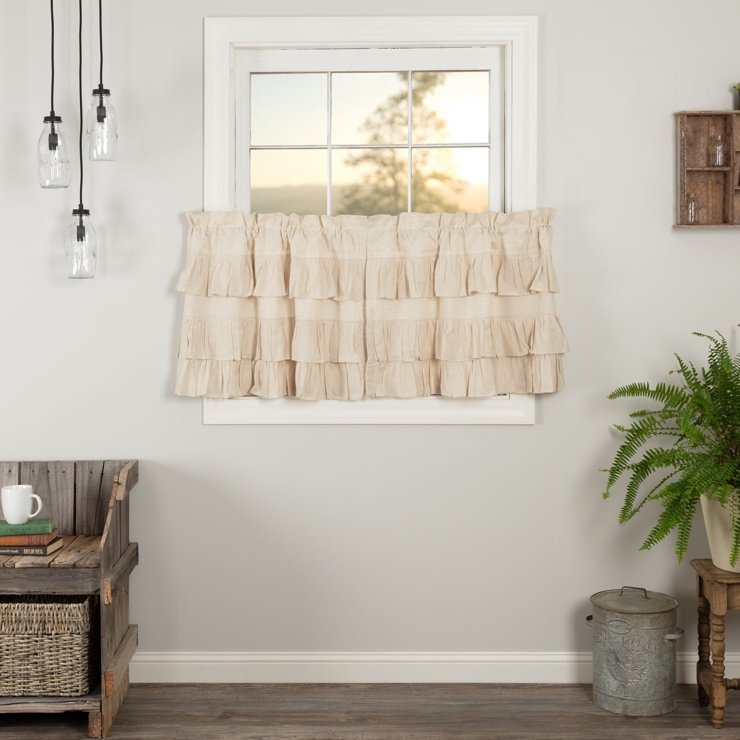 Rod Pocket Cotton Solid Color Ruched Ruffle Kitchen Curtains In Preferred Farmhouse Kitchen Curtains Vhc Simple Life Flax Tier Pair Rod Pocket Cotton Linen Blend Solid Color Flax (View 6 of 20)