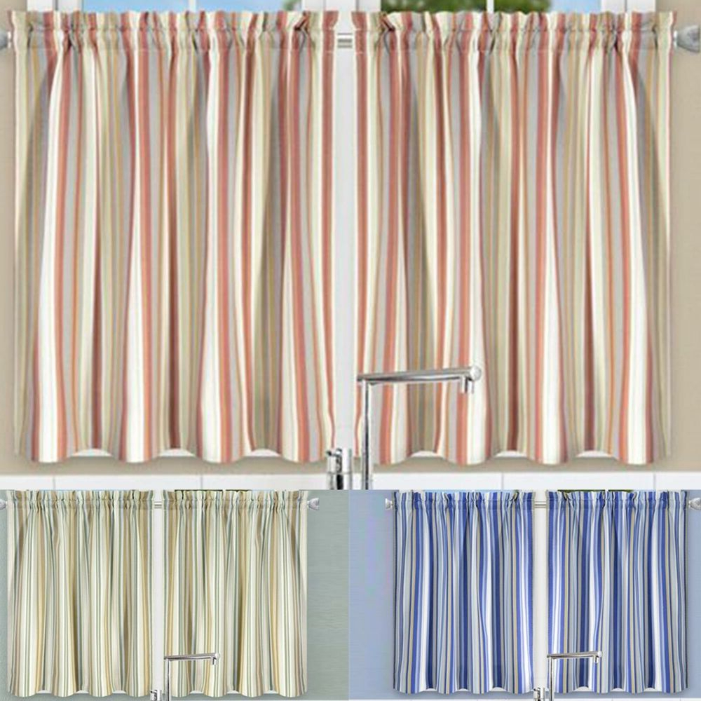 Rod Pocket Cotton Solid Color Ruched Ruffle Kitchen Curtains In Well Known Mason Stripe 2 Piece Window Rod Pocket Pair With 2 Tiersellis Curtain, 56x (View 19 of 20)