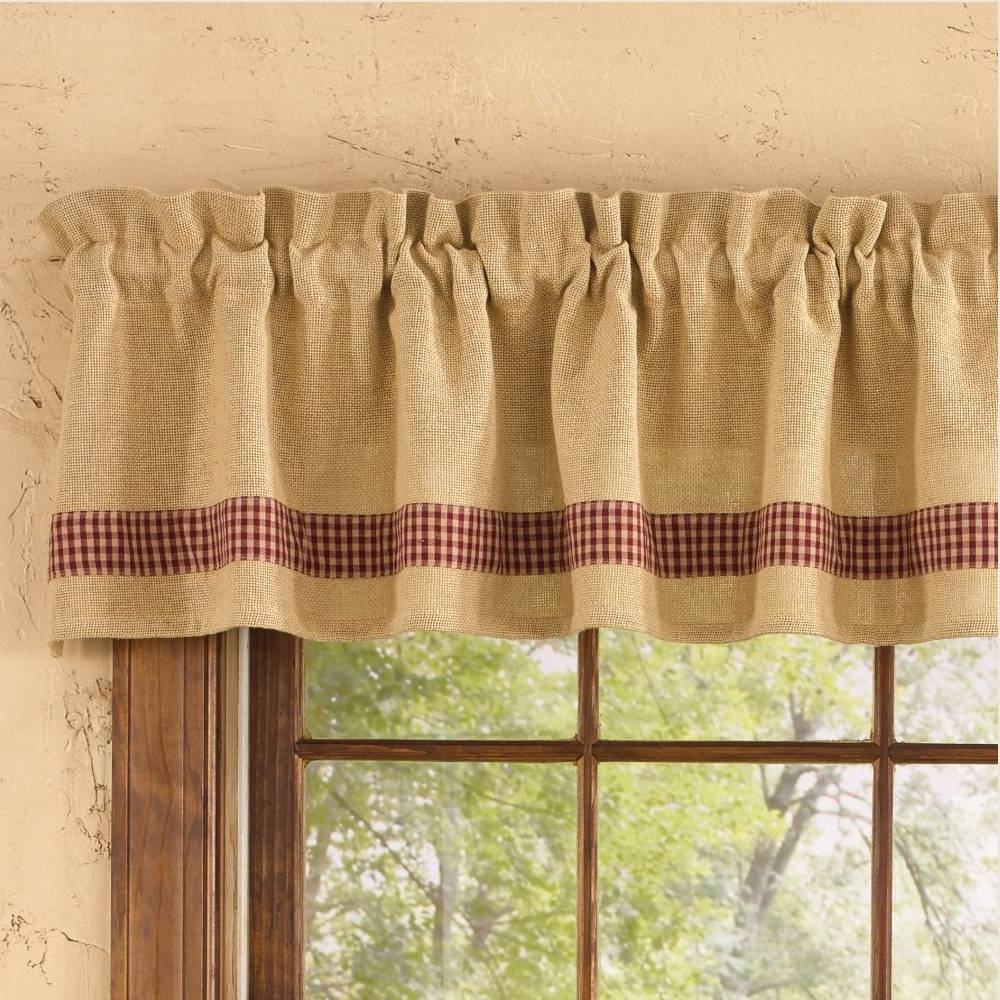 Rod Pocket Cotton Striped Lace Cotton Burlap Kitchen Curtains In Most Recently Released Excellent Kitchen Valance Red Curtains Make Burlap For (View 14 of 20)