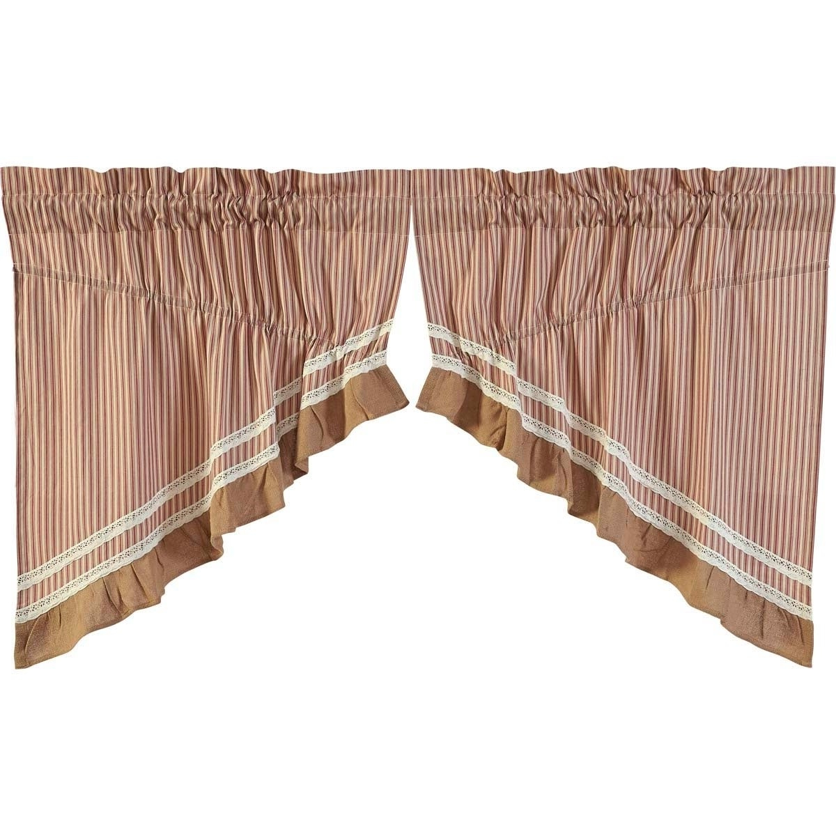 Rod Pocket Cotton Striped Lace Cotton Burlap Kitchen Curtains Intended For Most Recently Released Farmhouse Kitchen Curtains Vhc Kendra Stripe Prairie Swag (View 8 of 20)