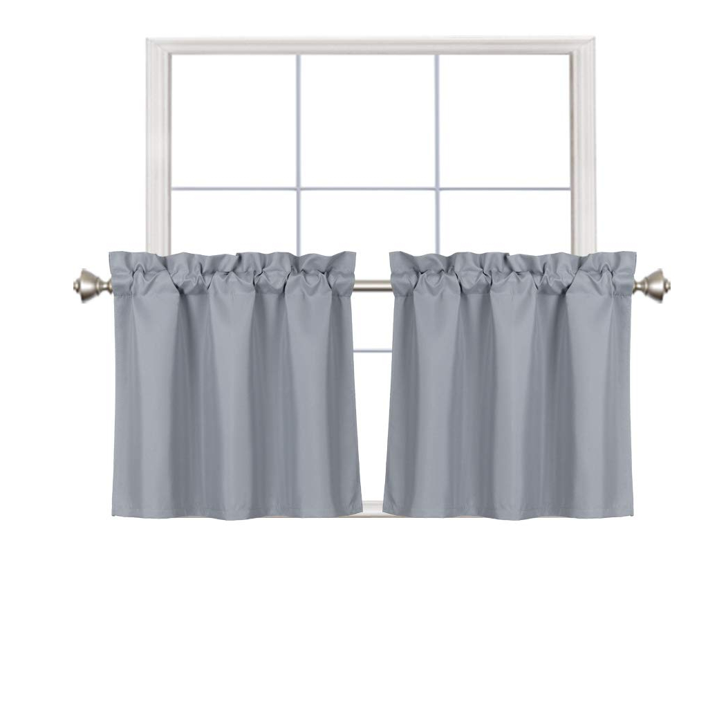 Rod Pocket Kitchen Tiers Intended For Most Popular Home Queen Blackout Rod Pocket Tier Curtains For Small Window, Short Room Darkening Kitchen Curtains, Café Drapes, 2 Panels, 30 Wx 24 L Inch Each, (View 2 of 20)