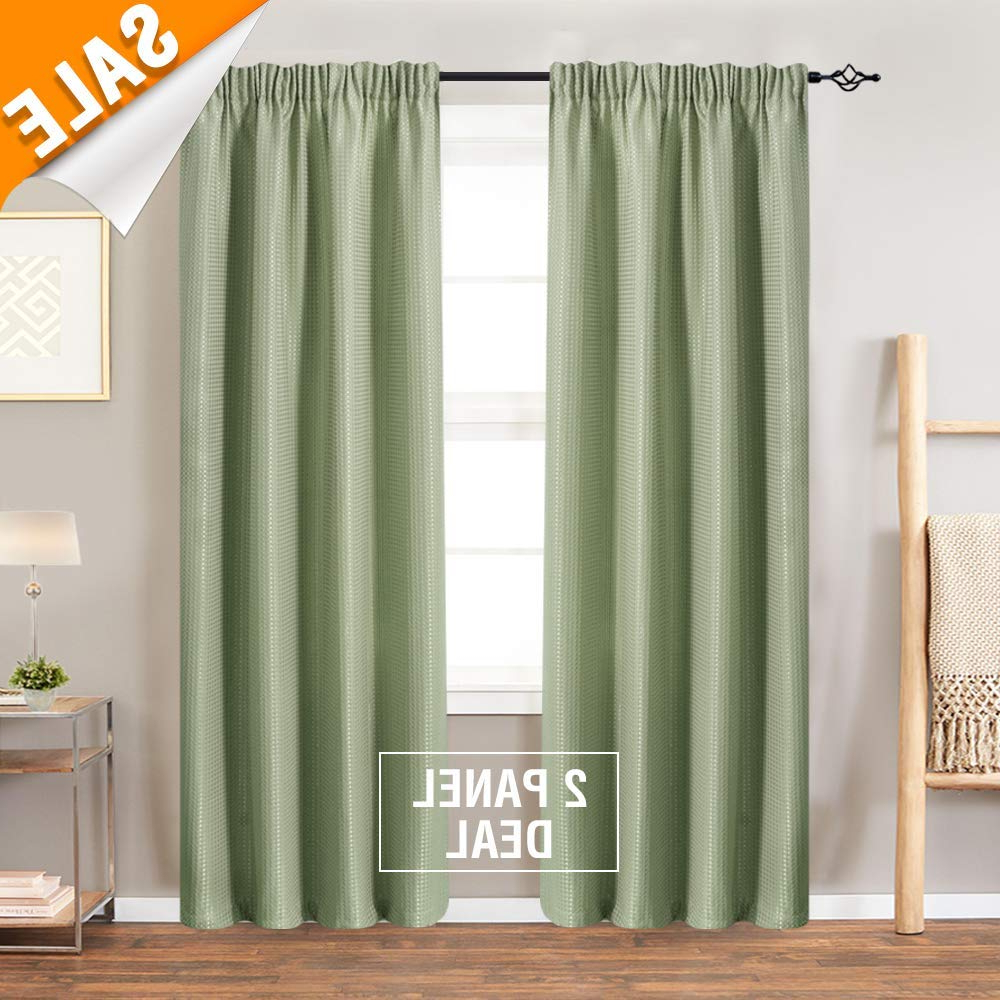 Rod Pocket Kitchen Tiers Pertaining To 2021 Lazzzy Rod Pocket Window Curtain Panels For Bedroom Waffle Weave Textured  Tier Curtains For Kitchen Bathroom Curtains 1 Pair 90 Inch, Olive (Gallery 19 of 20)