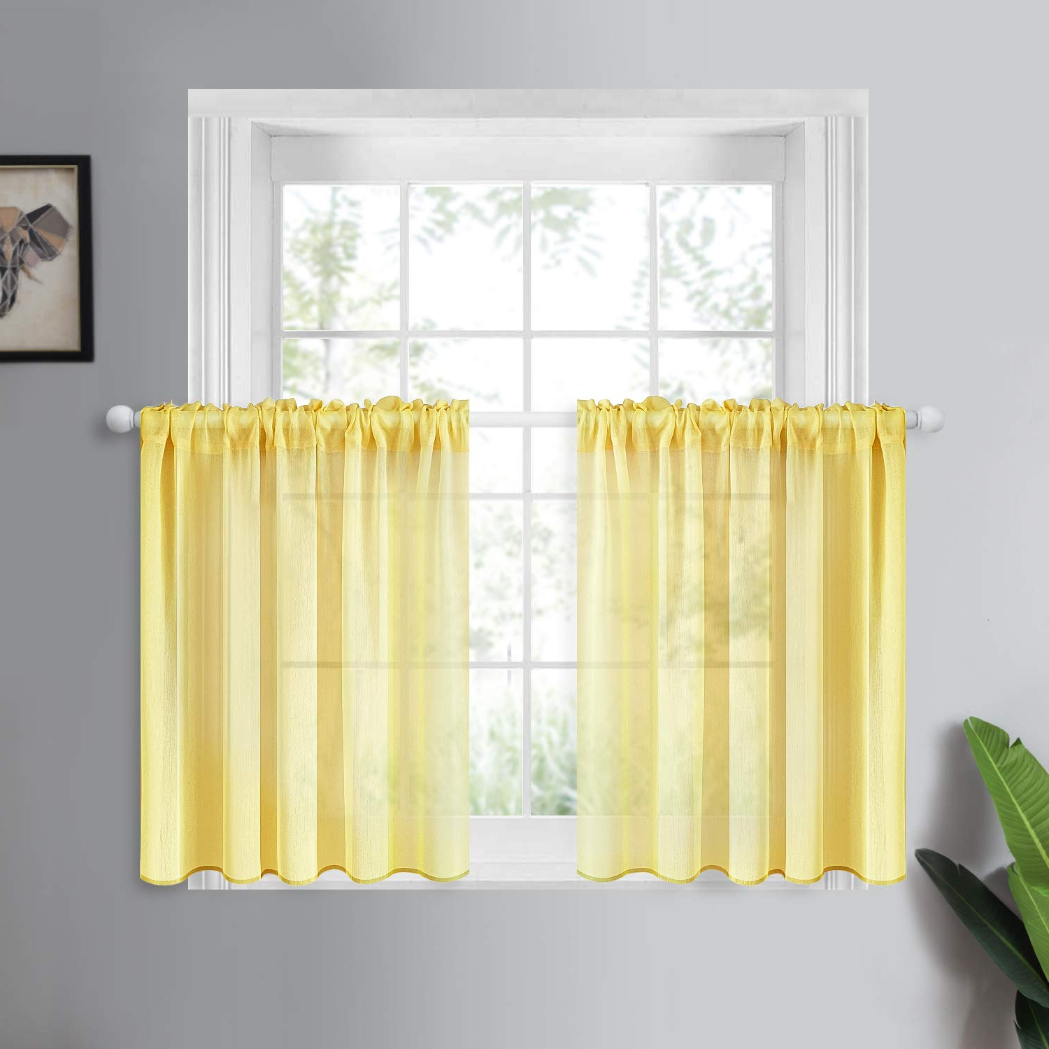 Rod Pocket Kitchen Tiers Within Most Up To Date Yokistg Sheer Kitchen Curtains 36 Inch Length Solid Rod Pocket Tier  Curtains For Cafe Bathroom Basement Small Window, Yellow, 2 Panels (Gallery 15 of 20)