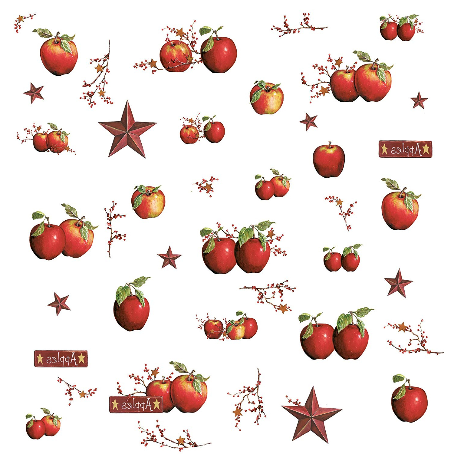 Roommates Country Apples Peel And Stick Wall Decals – Rmk1570scs Intended For Preferred Apple Orchard Printed Kitchen Tier Sets (View 10 of 20)
