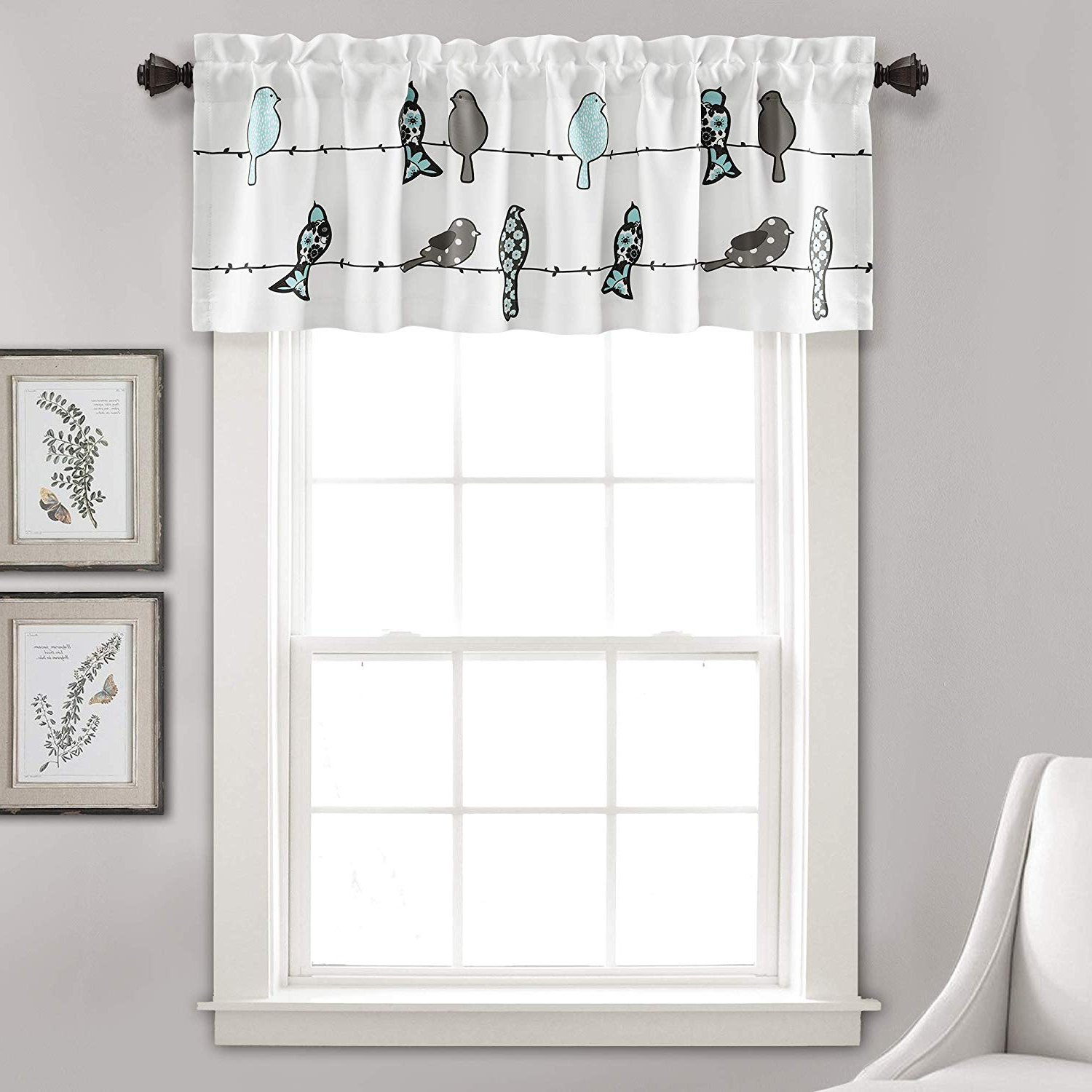 "Rowley Birds Valances For 2020 Lush Decor Rowley Birds Curtain Valance (single Panel), 18"" X 52"", Blue And Gray, L, Blue & Gray (View 2 of 20)"