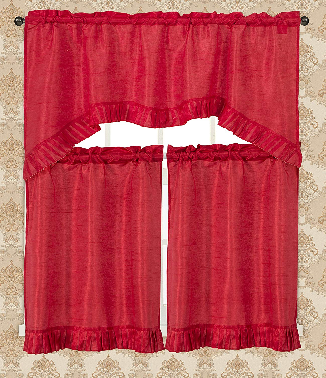 Rt Designers Collection Bermuda Ruffle Kitchen Window Curtain Red With Latest Bermuda Ruffle Kitchen Curtain Tier Sets (View 18 of 20)