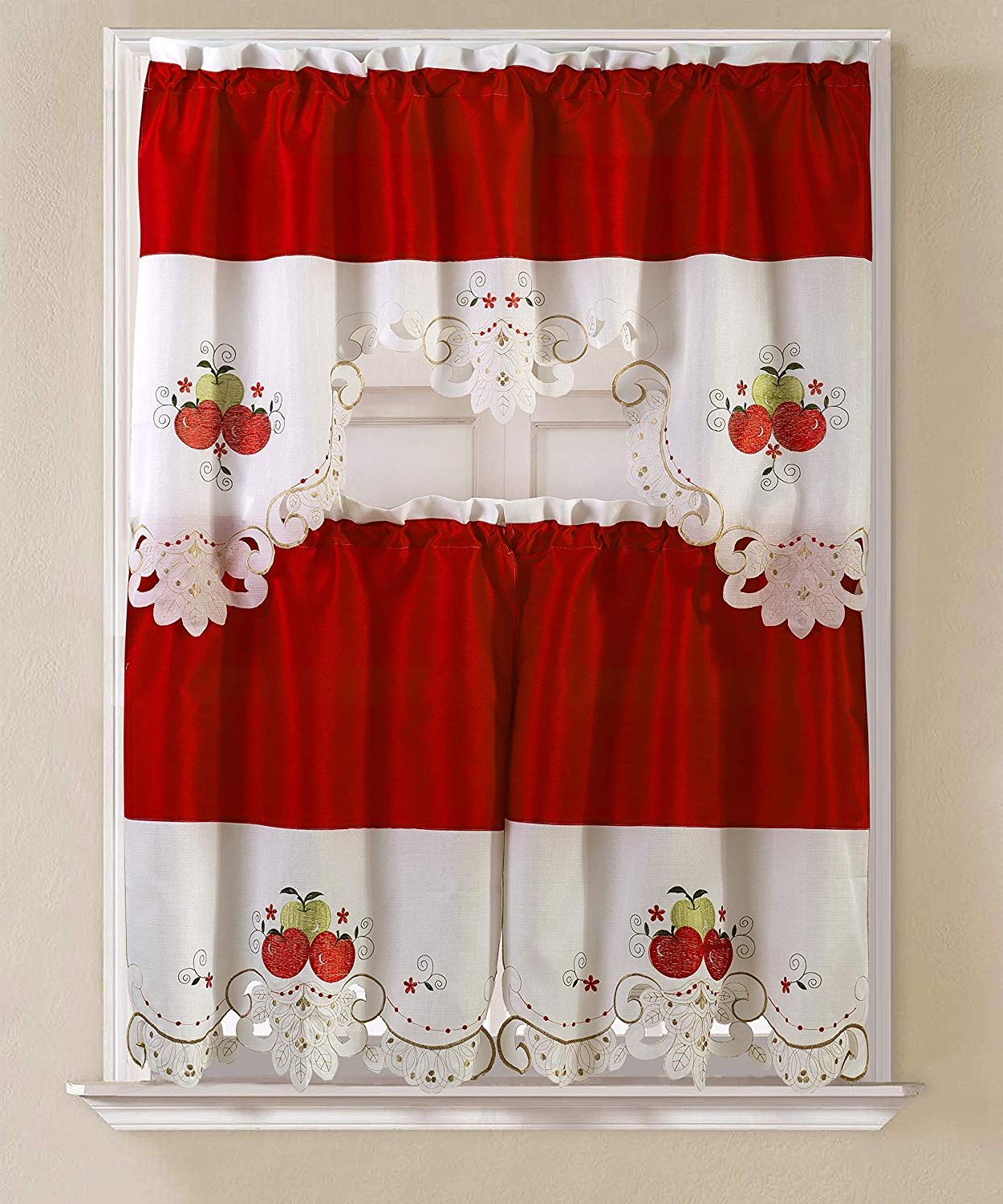 Rt Designers Collection Noble Embroidered Tier & Valance Kitchen Curtain Set, Apple With Regard To Well Liked Urban Embroidered Tier And Valance Kitchen Curtain Tier Sets (View 7 of 20)