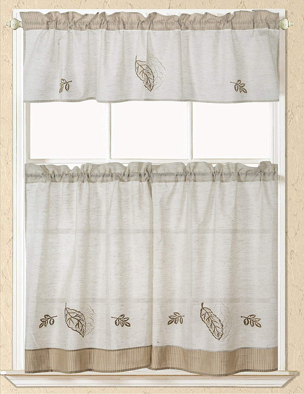 Rt Designers Collection Rt Designers Spring Rustic Leaf Embroidered Kitchen  Curtain, 1 Straight Valance 58 Inch X 15 Inch & 2 Tiers 30 Inch X 36 Inch, With 2020 Scroll Leaf 3 Piece Curtain Tier And Valance Sets (View 12 of 20)