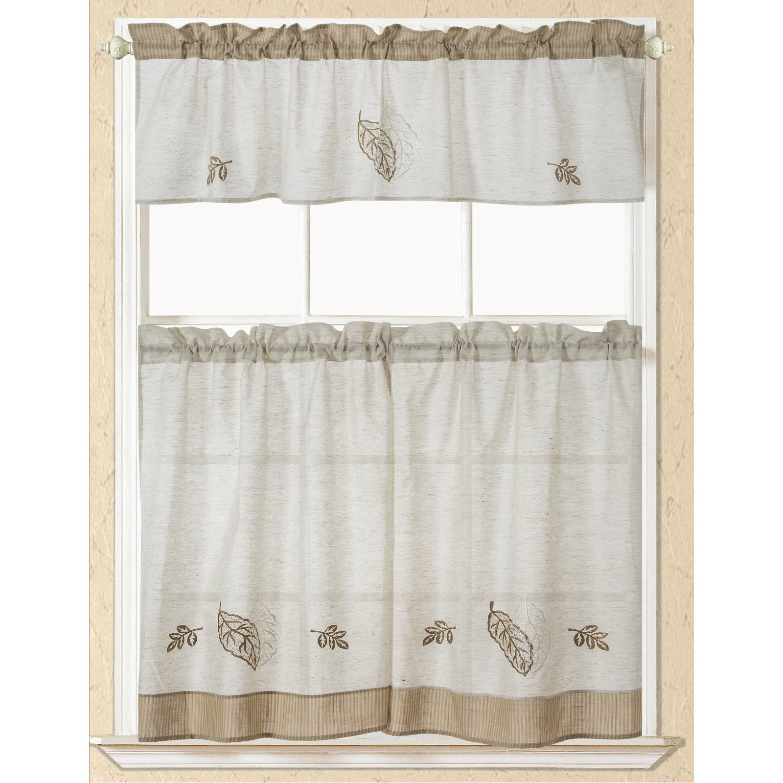 Rt Designers Collection Rustic Embroidered Leaf Kitchen With Most Recent Imperial Flower Jacquard Tier And Valance Kitchen Curtain Sets (View 5 of 20)