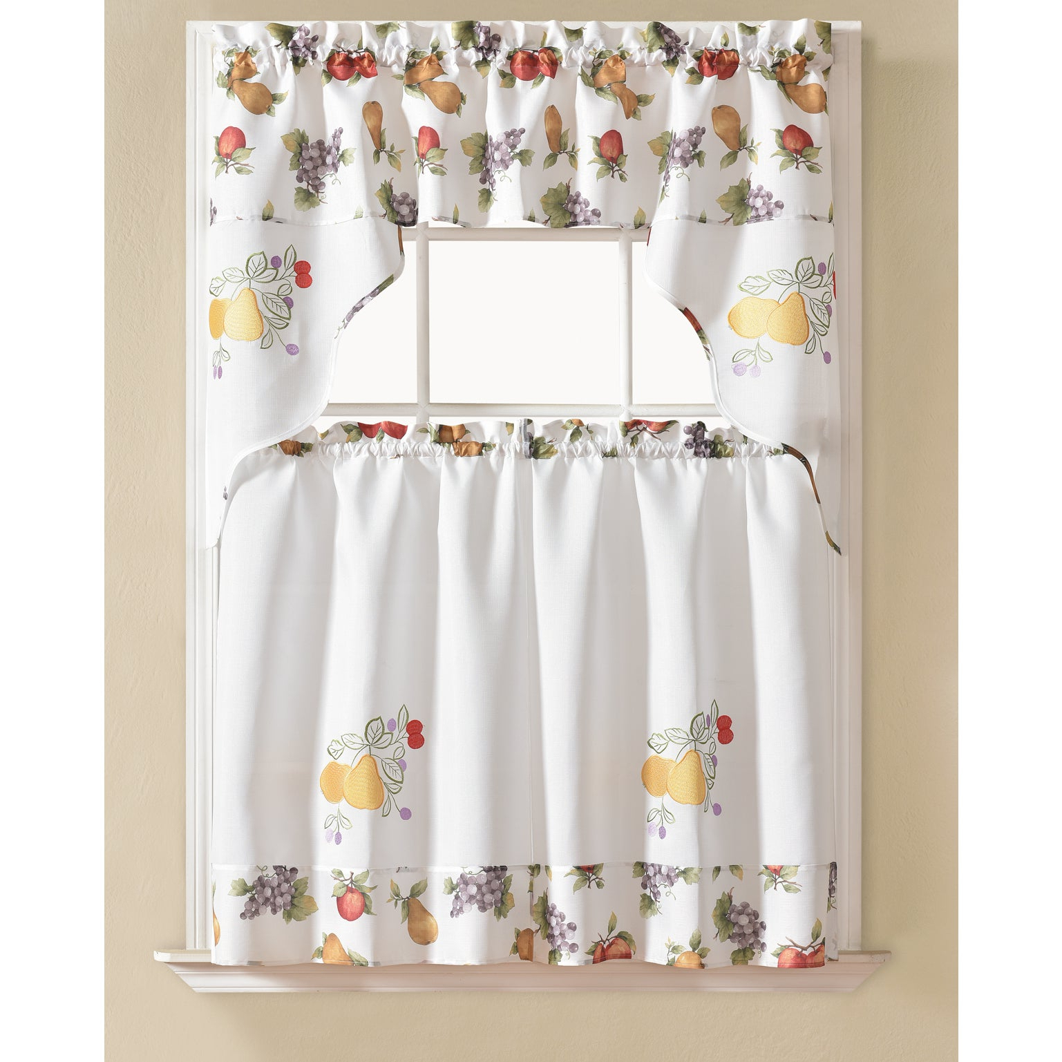 Rt Designers Collection Urban Embroidered Tier And Valance Kitchen Curtain  Tier Set Pertaining To Trendy Embroidered Chef Black 5 Piece Kitchen Curtain Sets (Gallery 4 of 20)
