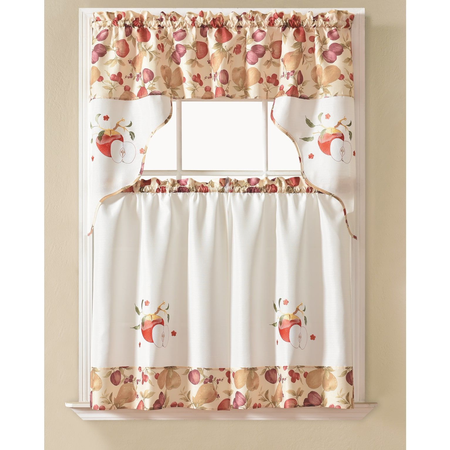 Rt Designers Collection Urban Embroidered Tier And Valance With Regard To Well Known Red Delicious Apple 3 Piece Curtain Tiers (Gallery 15 of 20)