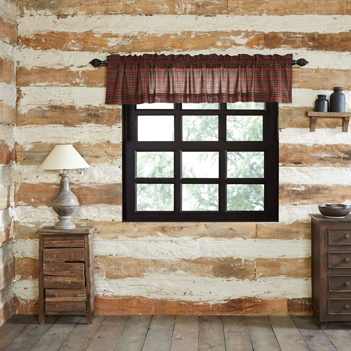 Rustic Kitchen Curtains Inside Trendy Red Rustic Kitchen Curtains Vhc Tartan Red Plaid Valance Rod Pocket Cotton  Plaid (Gallery 7 of 20)