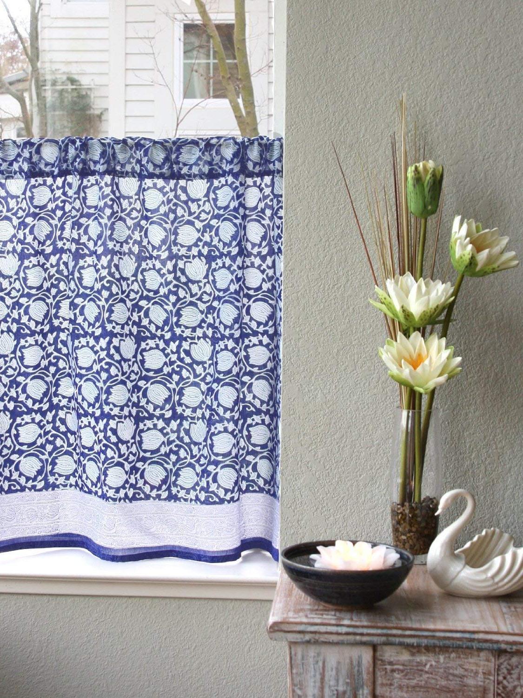 Saffron Marigold Floral Blue Kitchen Curtains Midnight Lotus (View 12 of 20)