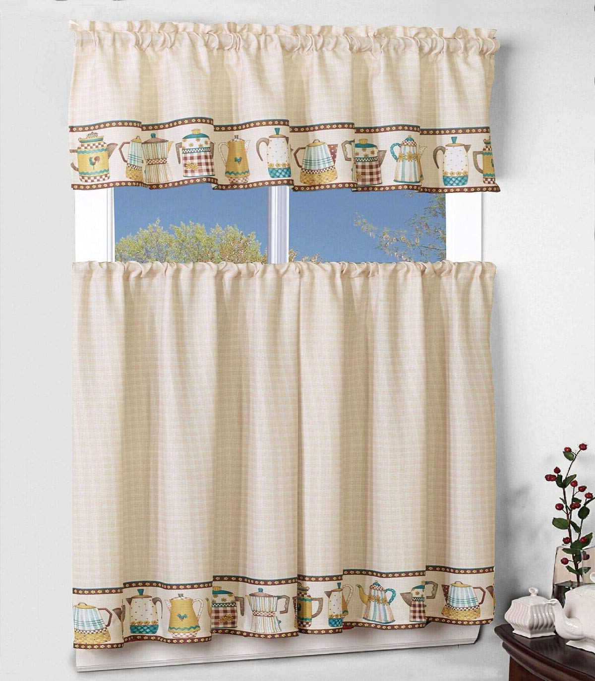 "Sapphire Home 3 Piece Kitchen Curtain Linen Set With 2 Tiers 27"" W (total Width 54"") X 36"" L And 1 Tailored Valance 54"" W X 15"" L, Teapot Teakettle Regarding Recent Microfiber 3 Piece Kitchen Curtain Valance And Tiers Sets (View 20 of 20)"