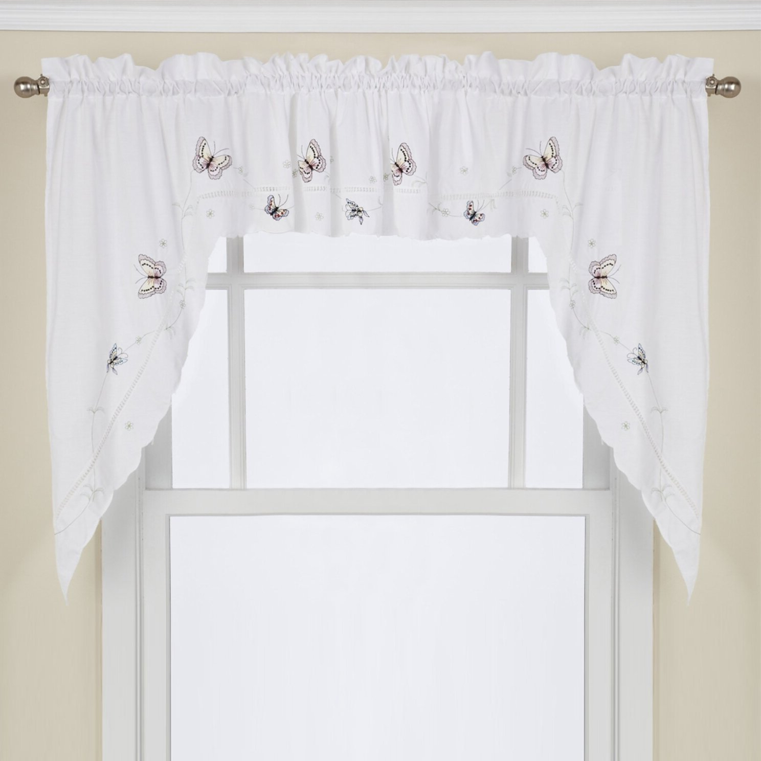 "Schlater Embroidered Butterfly Kitchen 29"" Swag Curtain Valance Intended For Current Abby Embroidered 5 Piece Curtain Tier And Swag Sets (View 15 of 20)"