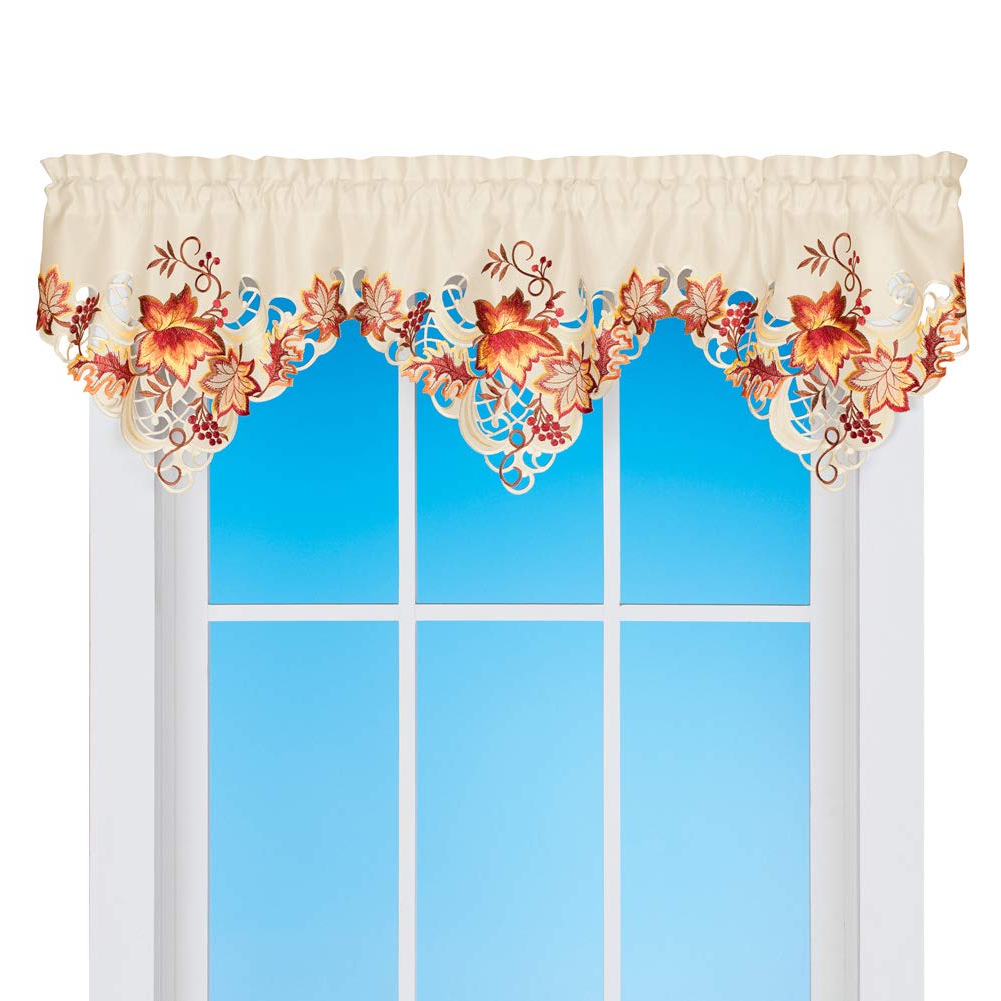 Scroll Leaf 3 Piece Curtain Tier And Valance Sets Regarding Most Up To Date Collections Etc Elegant Fall Scroll Design Leaves Window Valance With  Delicate Cutouts And Rod Pocket On Top For Easy Hanging (View 16 of 20)