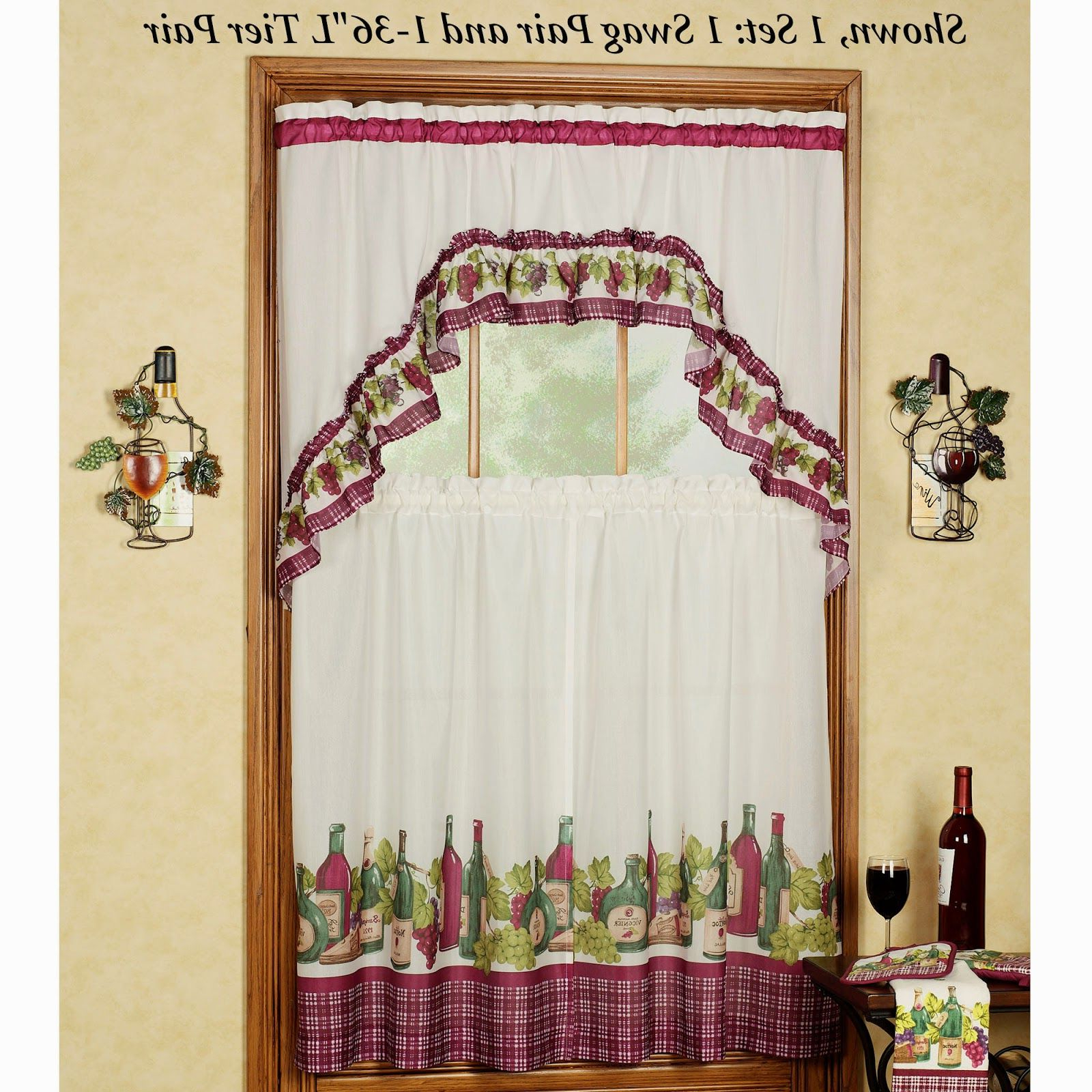 Scroll Leaf 3 Piece Curtain Tier And Valance Sets With Regard To Preferred Kitchen Curtains Green Gingham (View 18 of 20)