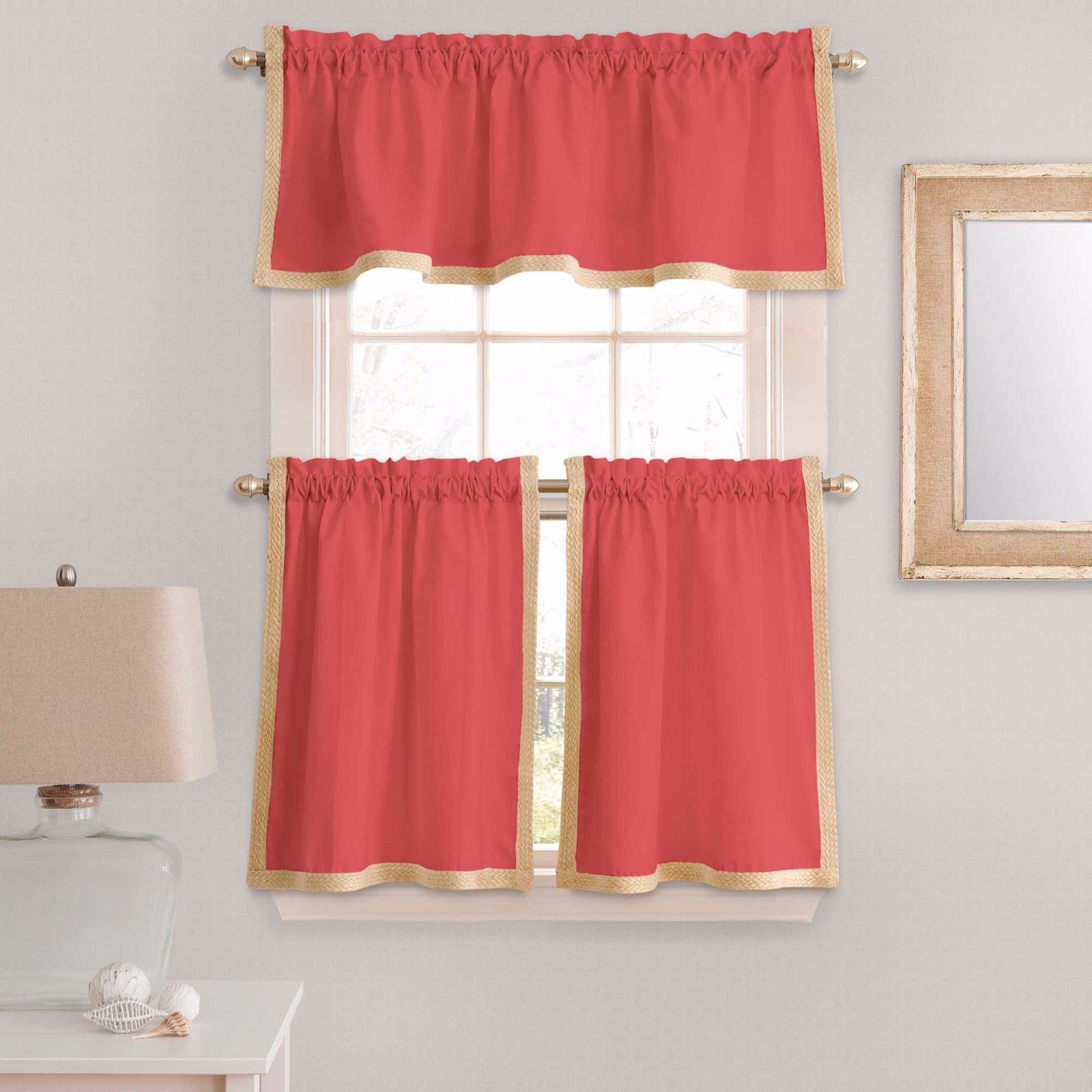 Seaview 36 Inch Window Curtain Kitchen Tier Pairs In Coral With Most Popular Waverly Kensington Bloom Window Tier Pairs (View 17 of 20)