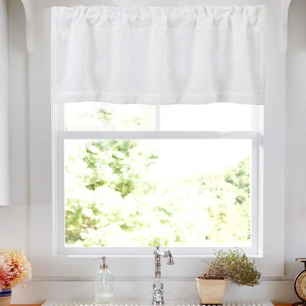 Semi Sheer Rod Pocket Kitchen Curtain Valance And Tiers Sets Pertaining To Best And Newest Tier Curtain Valance Rod Pocket For Kitchen Semi Sheer Valance Curtains Casual Weave Textured Cafe Valance For Bathroom 18 Inches, (View 2 of 20)