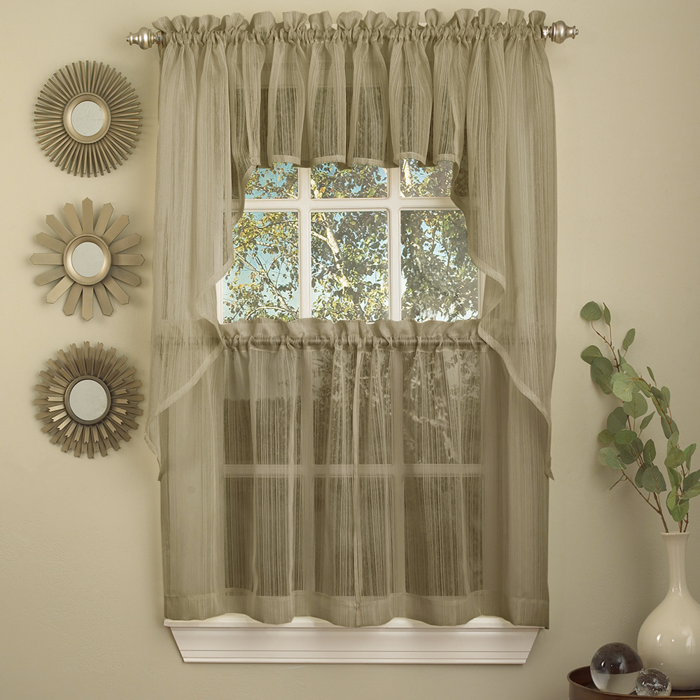Semi Sheer Rod Pocket Kitchen Curtain Valance And Tiers Sets Throughout Trendy Details About Harmony Mocha Micro Stripe Semi Sheer Kitchen Curtains Tier Or Valance Or Swag (View 8 of 20)