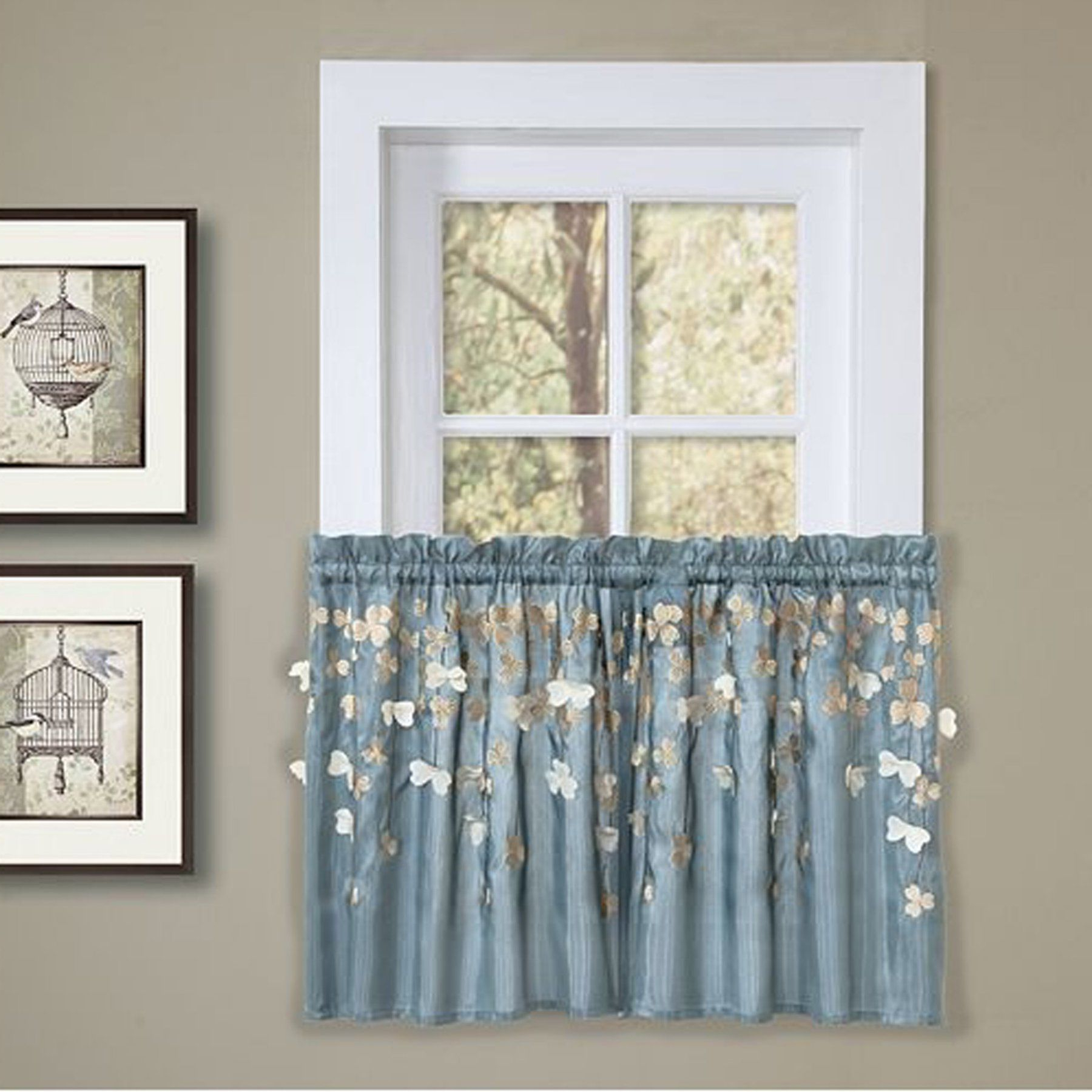 Semi Sheer Rod Pocket Kitchen Curtain Valance And Tiers Sets With Regard To Well Known Lush Decor Flower Drops Kitchen Tiers Pair – C10754P13  (View 16 of 20)