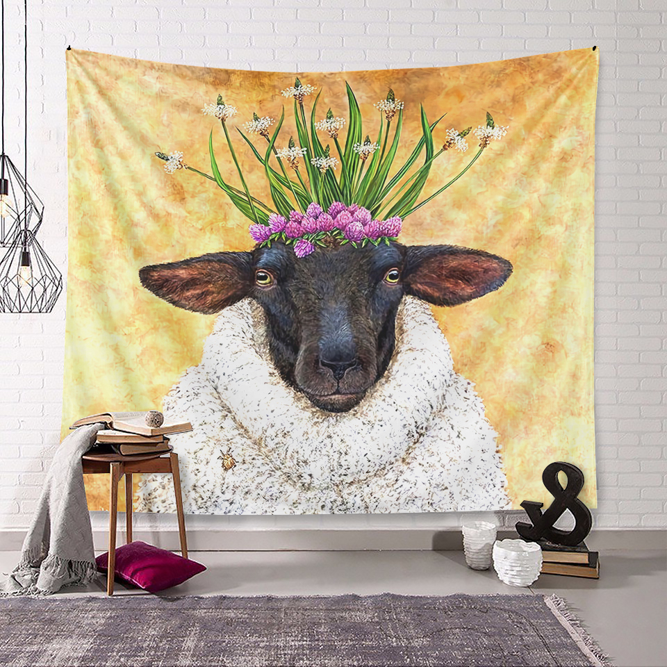 Sheep Clt150830 Ml Tapestry – Kaylee And Tepid In Most Up To Date Complete Cottage Curtain Sets With An Antique And Aubergine Grapvine Print (View 11 of 20)