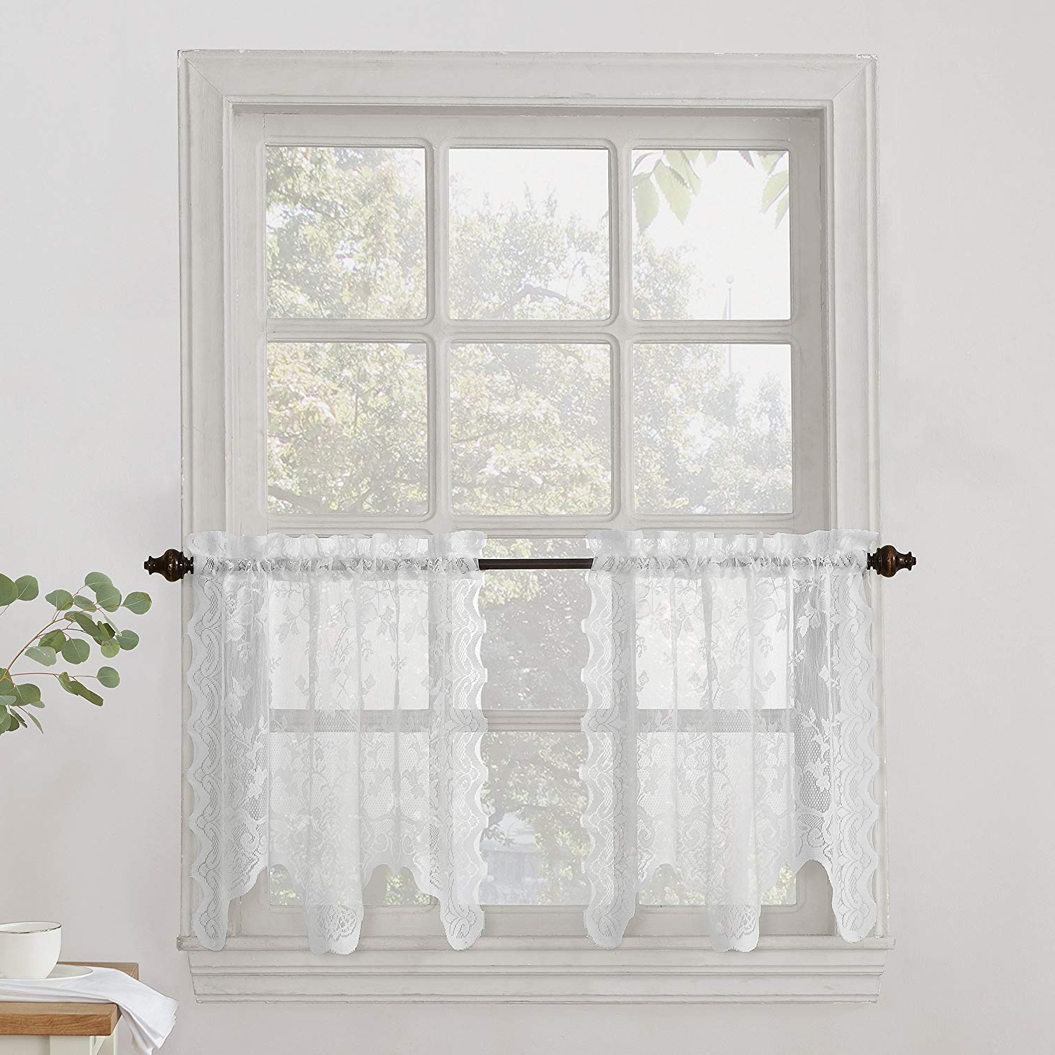 Sheer Lace Elongated Kitchen Curtain Tier Pairs Intended For Favorite No (View 2 of 20)