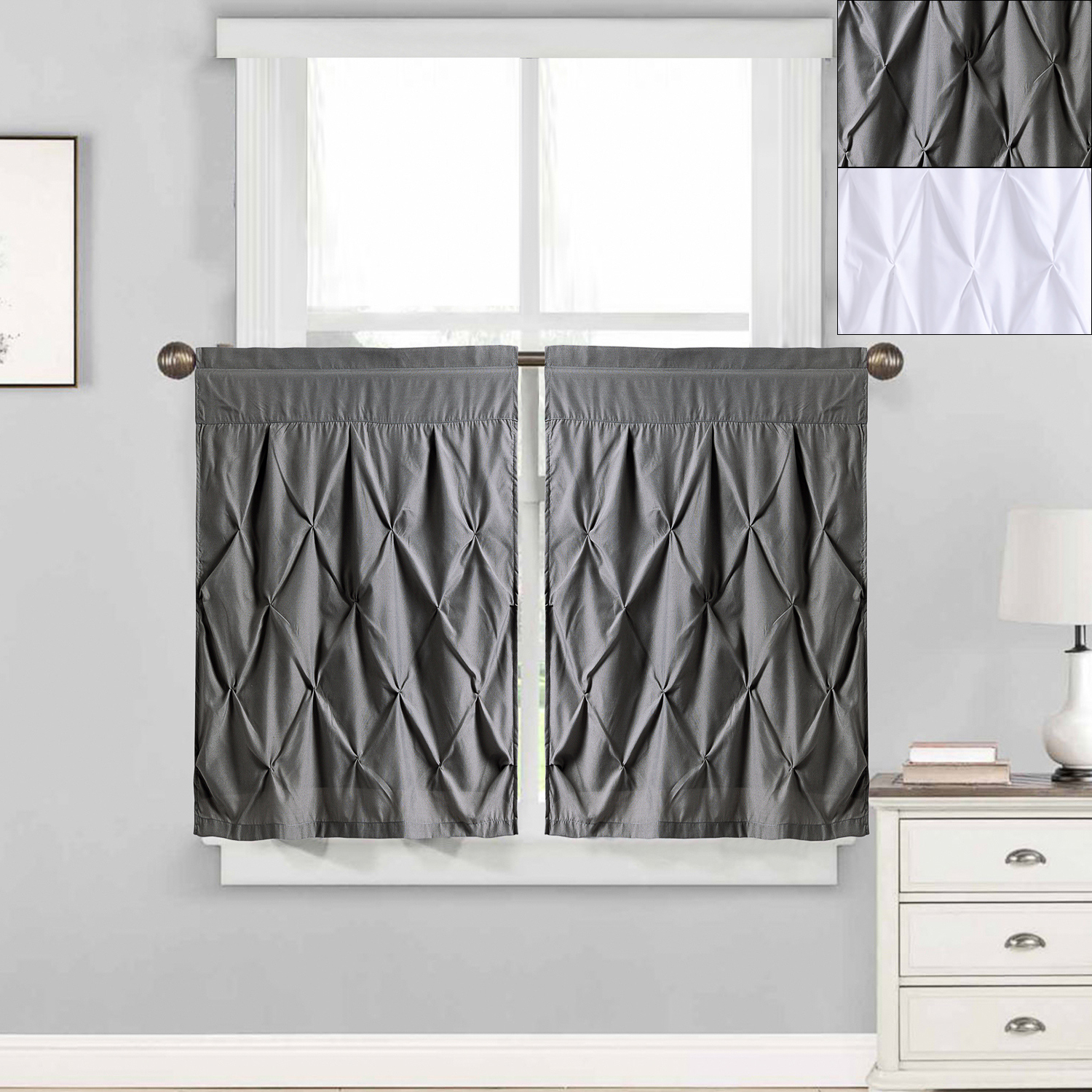 """Sheer Lace Elongated Kitchen Curtain Tier Pairs Regarding Widely Used Details About Hudson Pintuck Kitchen Window Curtain Tier Pair 24""""x30"""" (View 16 of 20)"""