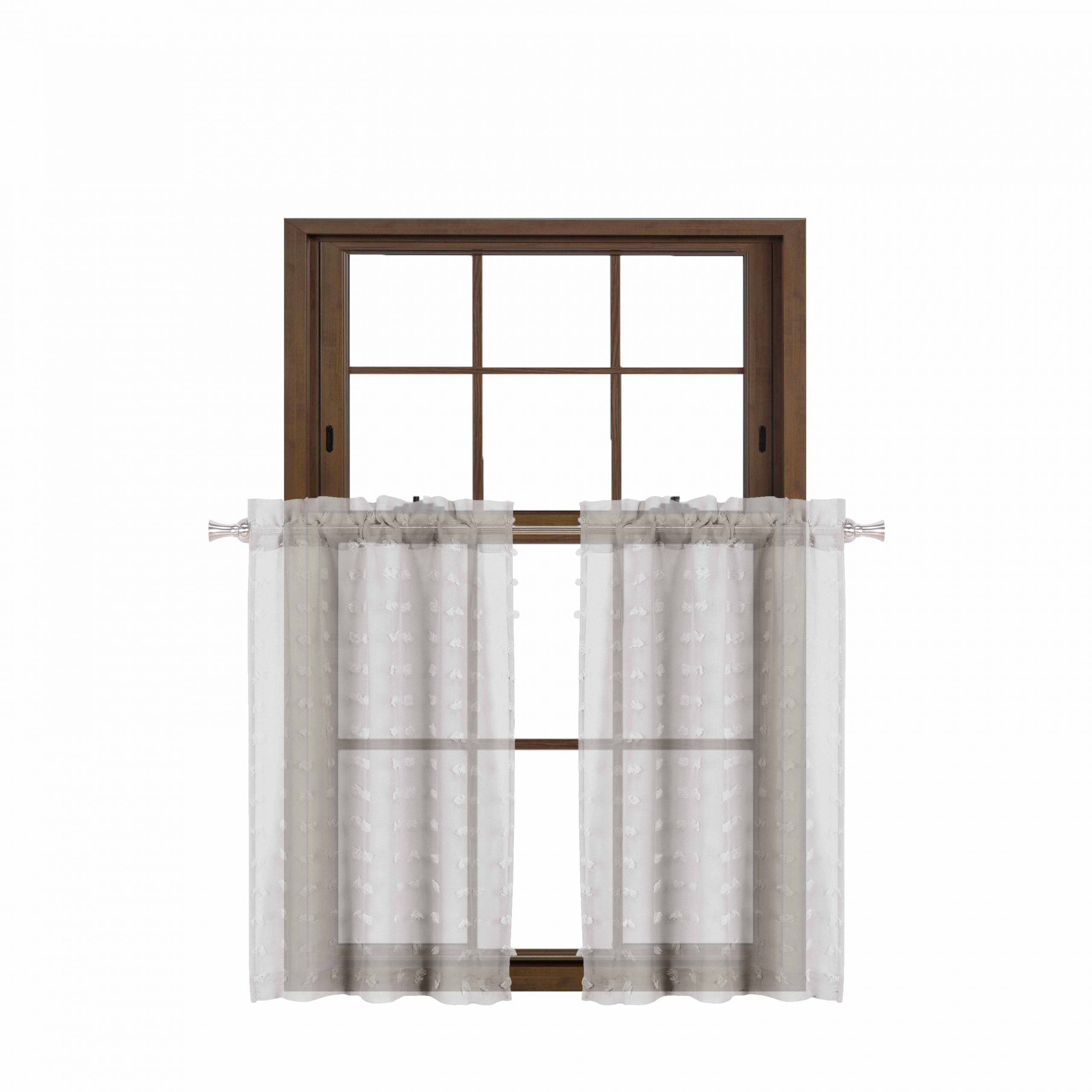 Sheer Lace Elongated Kitchen Curtain Tier Pairs Within Recent Sheer 2 Piece Silver Café/tier Curtain Set: 3 D Soft Tufts (View 17 of 20)