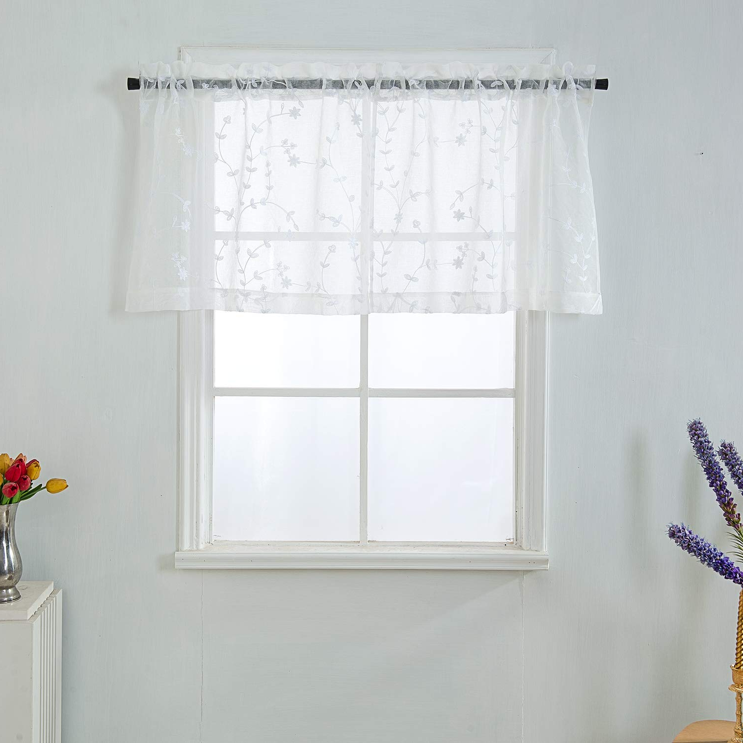 Sheer White Valance Floral Embroidered Window Valance Pair Rod Pocket Window Curtain Valance On Floral Pattern 34x24 Inch 2 Panels Set Intended For Famous Floral Pattern Window Valances (View 7 of 20)