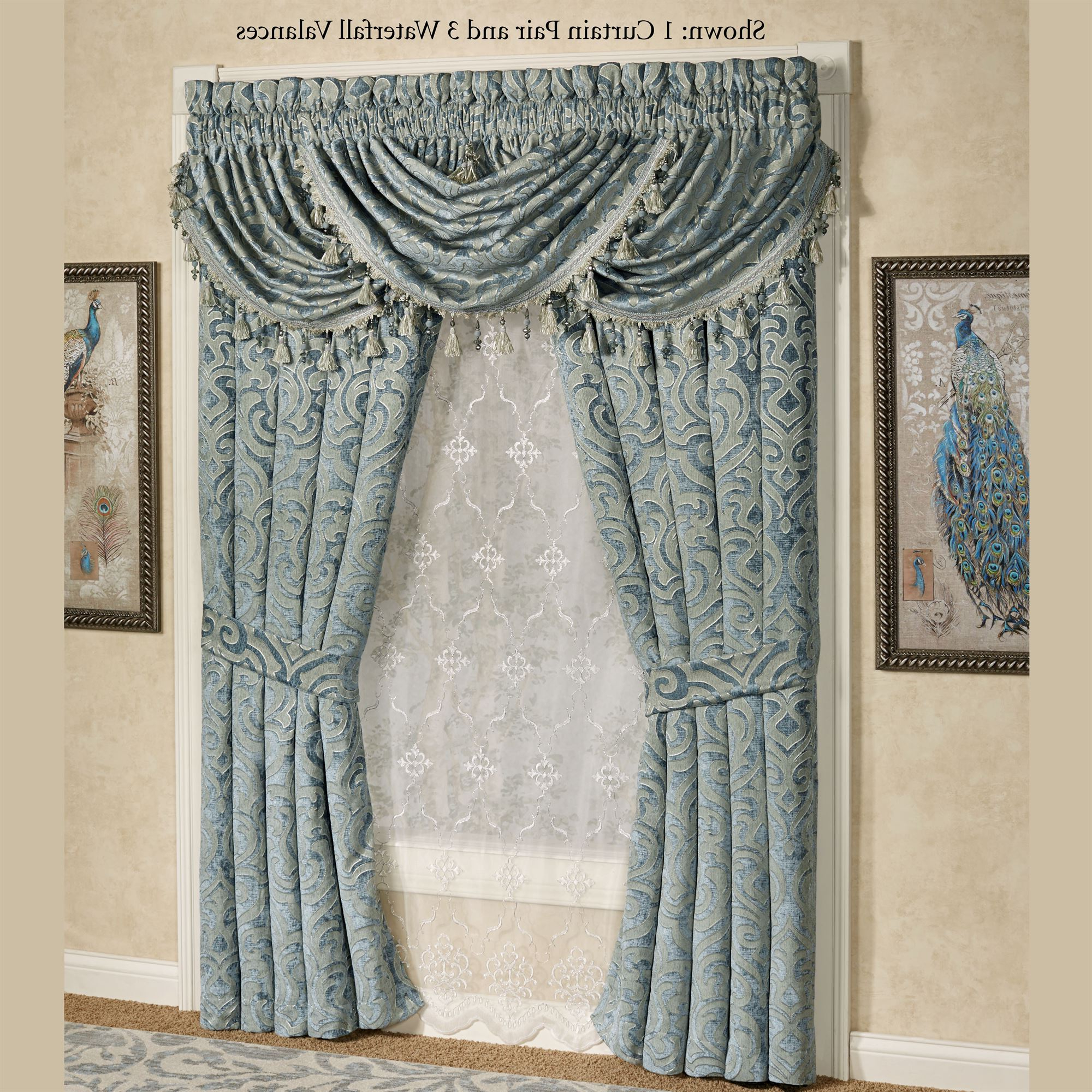 Sicily Teal Medallion Window Treatmentj Queen New York With Regard To 2021 Medallion Window Curtain Valances (View 11 of 20)