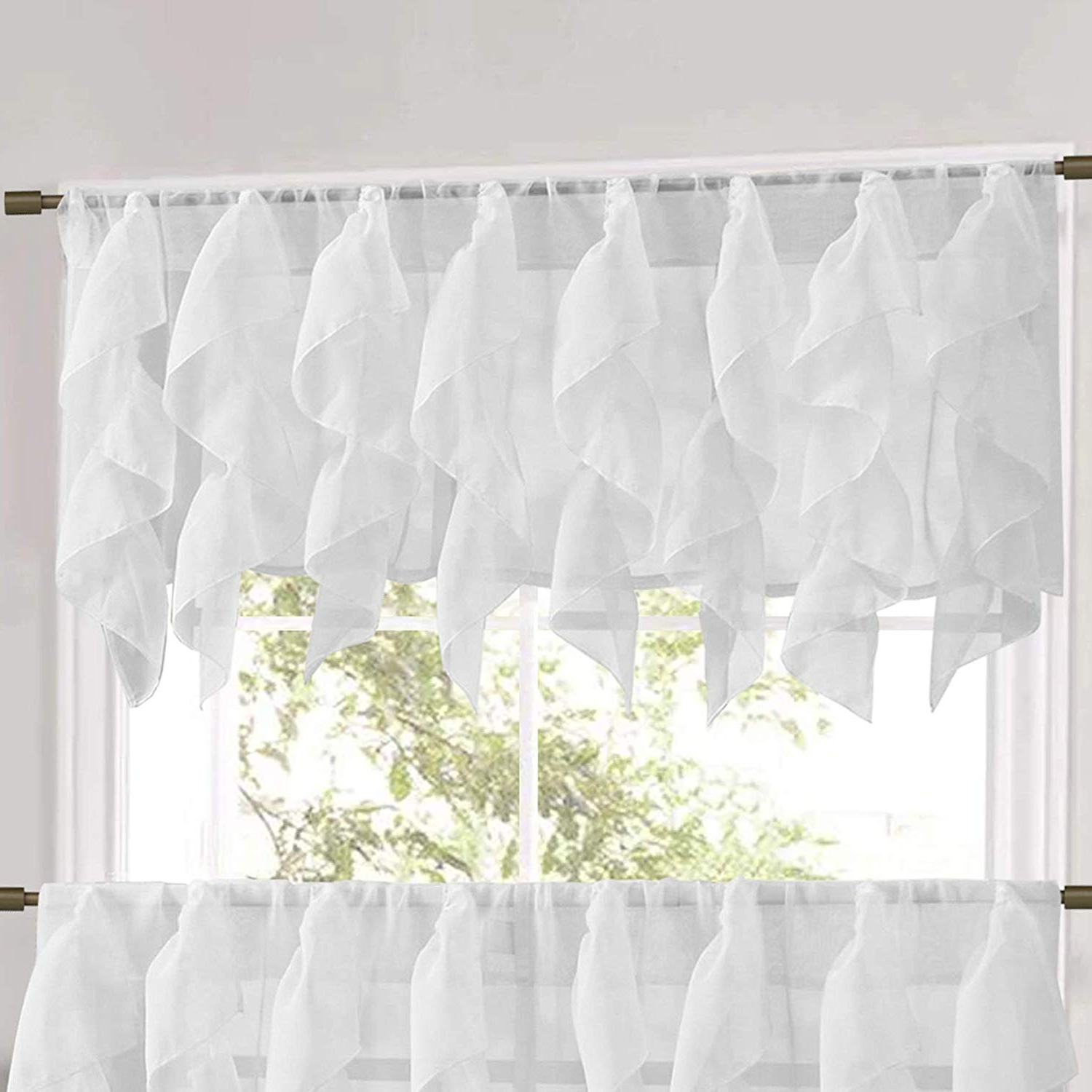 "Silver Vertical Ruffled Waterfall Valance And Curtain Tiers Regarding Most Popular Sweet Home Collection Veritcal Kitchen Curtain Sheer Cascading Ruffle Waterfall Window Treatment Choice Of Valance, 24"" Or 36"" Teir, And Kit, White (View 13 of 20)"